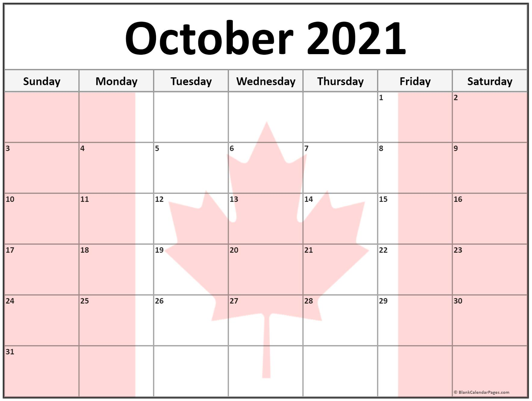 October 2020 Canada flag monthly calendar printout
