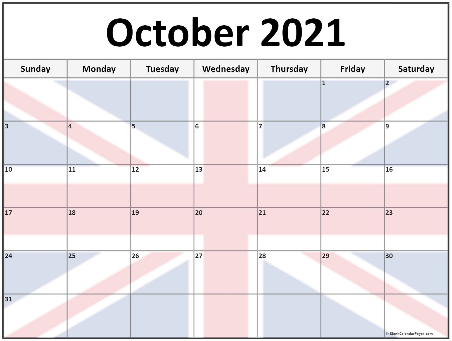 October 2021 UK flag picture calendar