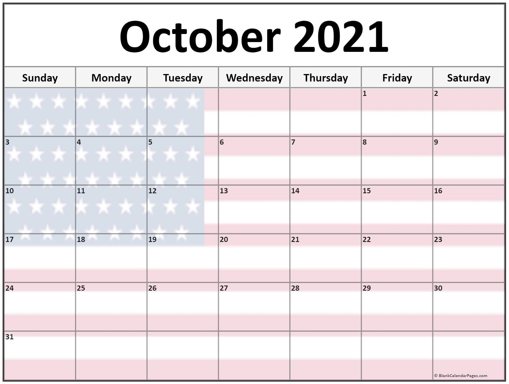 October 2021 USA flag monthly calendar