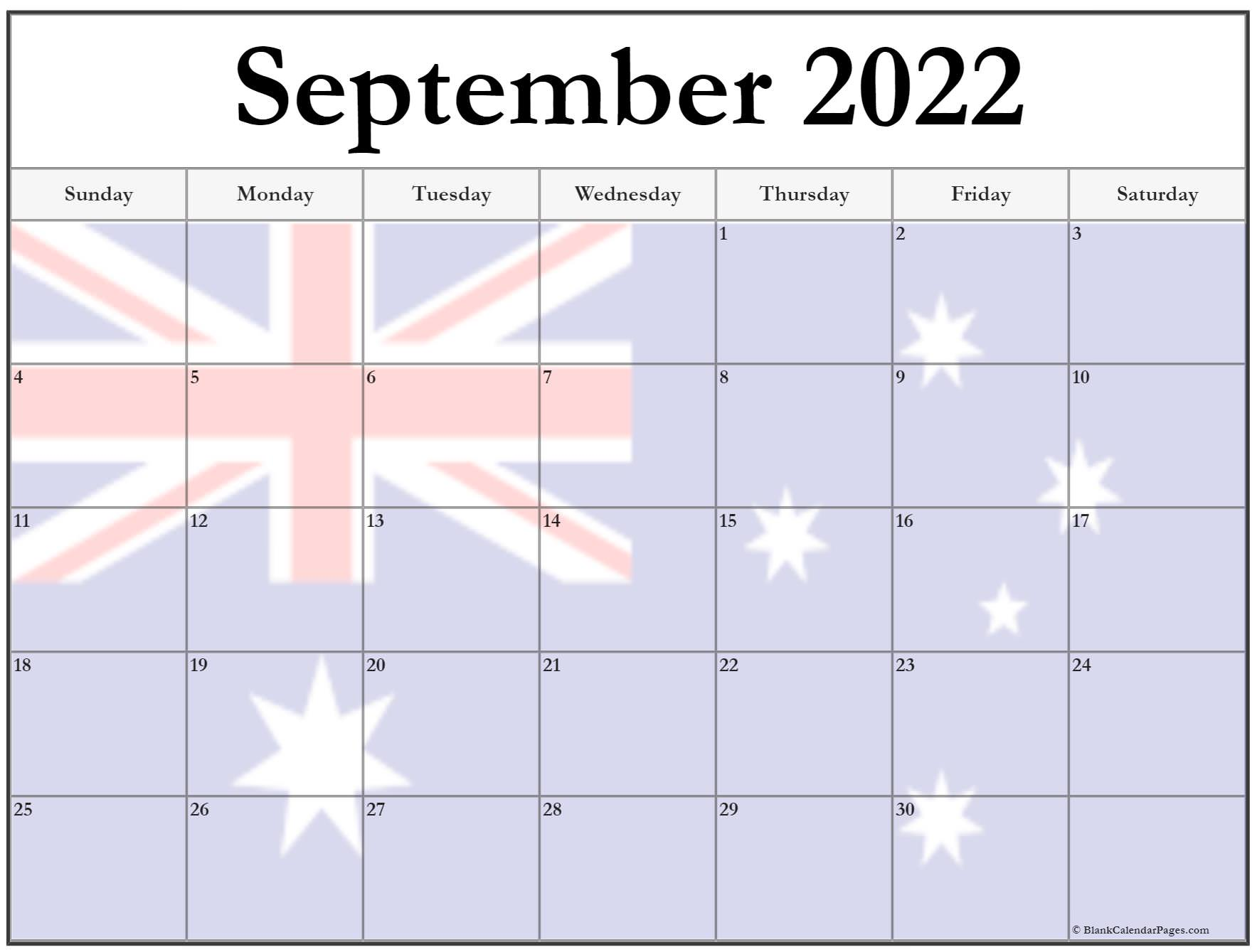 Collection of September 2022 photo calendars with image ...
