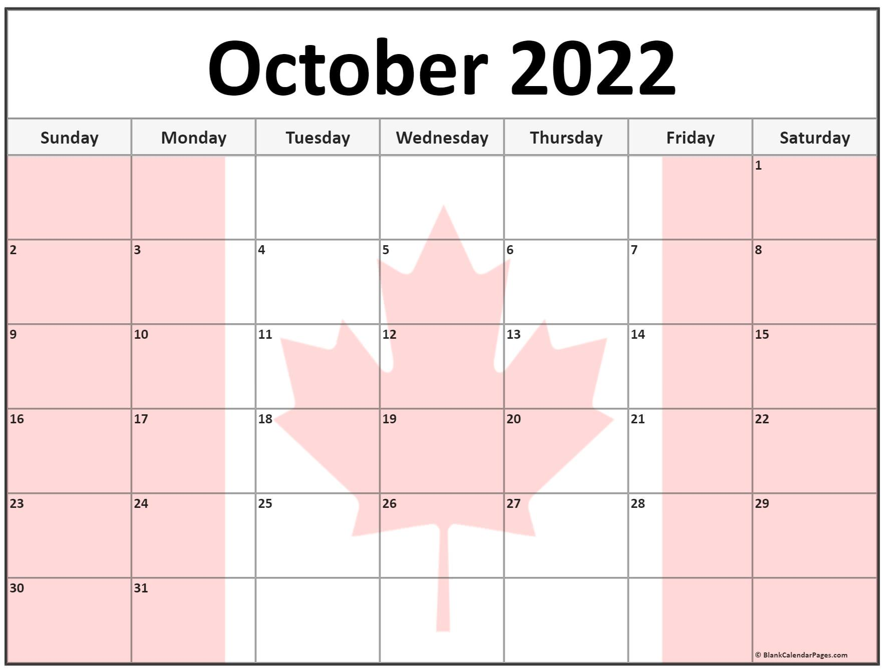 Collection of October 2022 photo calendars with image filters.