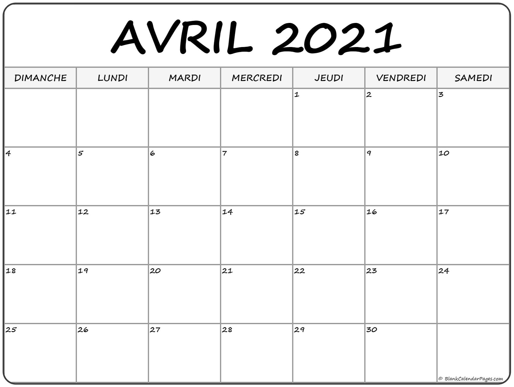 Calendrier Mois Avril 2021 avril 2021 calendrier imprimable | calendrier gratuit