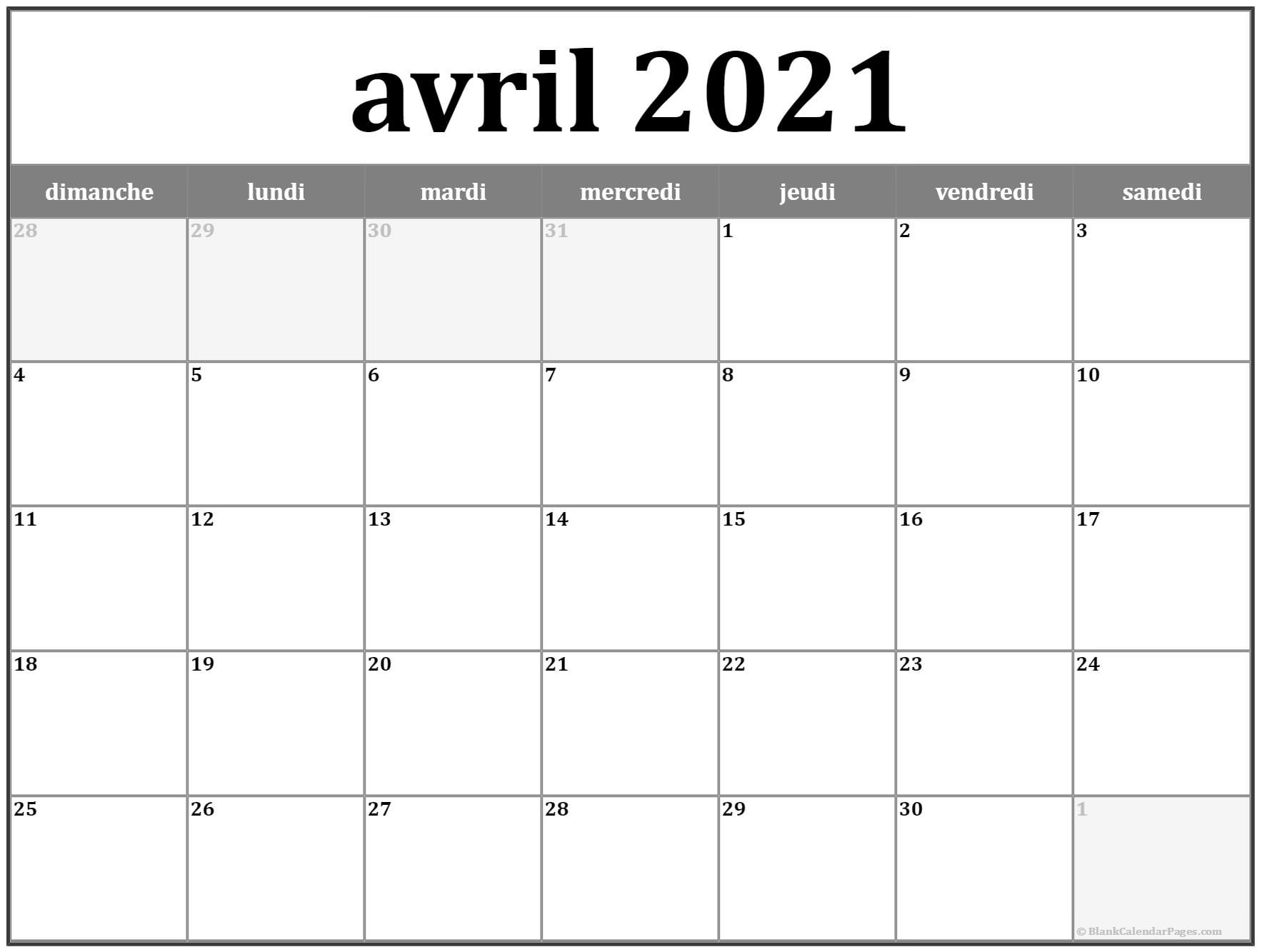 avril 2018 calendrier imprimable