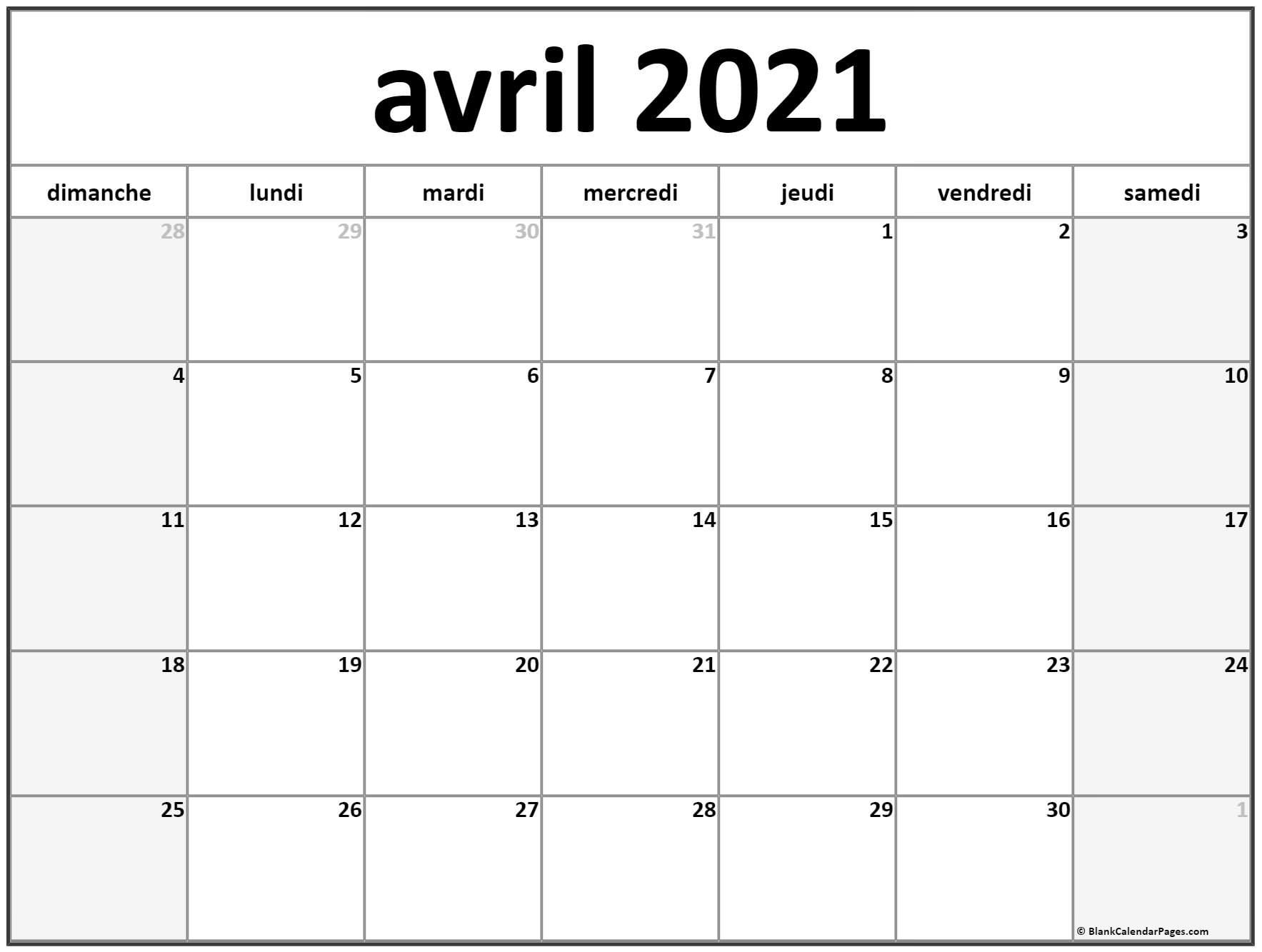 avril 2021 calendrier imprimable