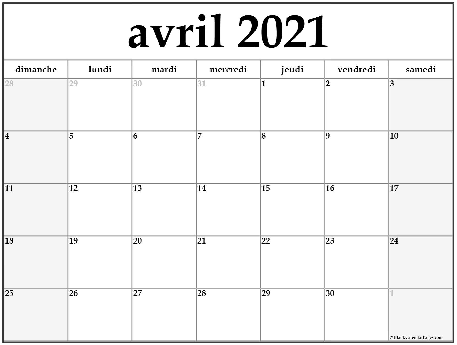 Avril 2021 Calendrier avril 2021 calendrier imprimable | calendrier gratuit