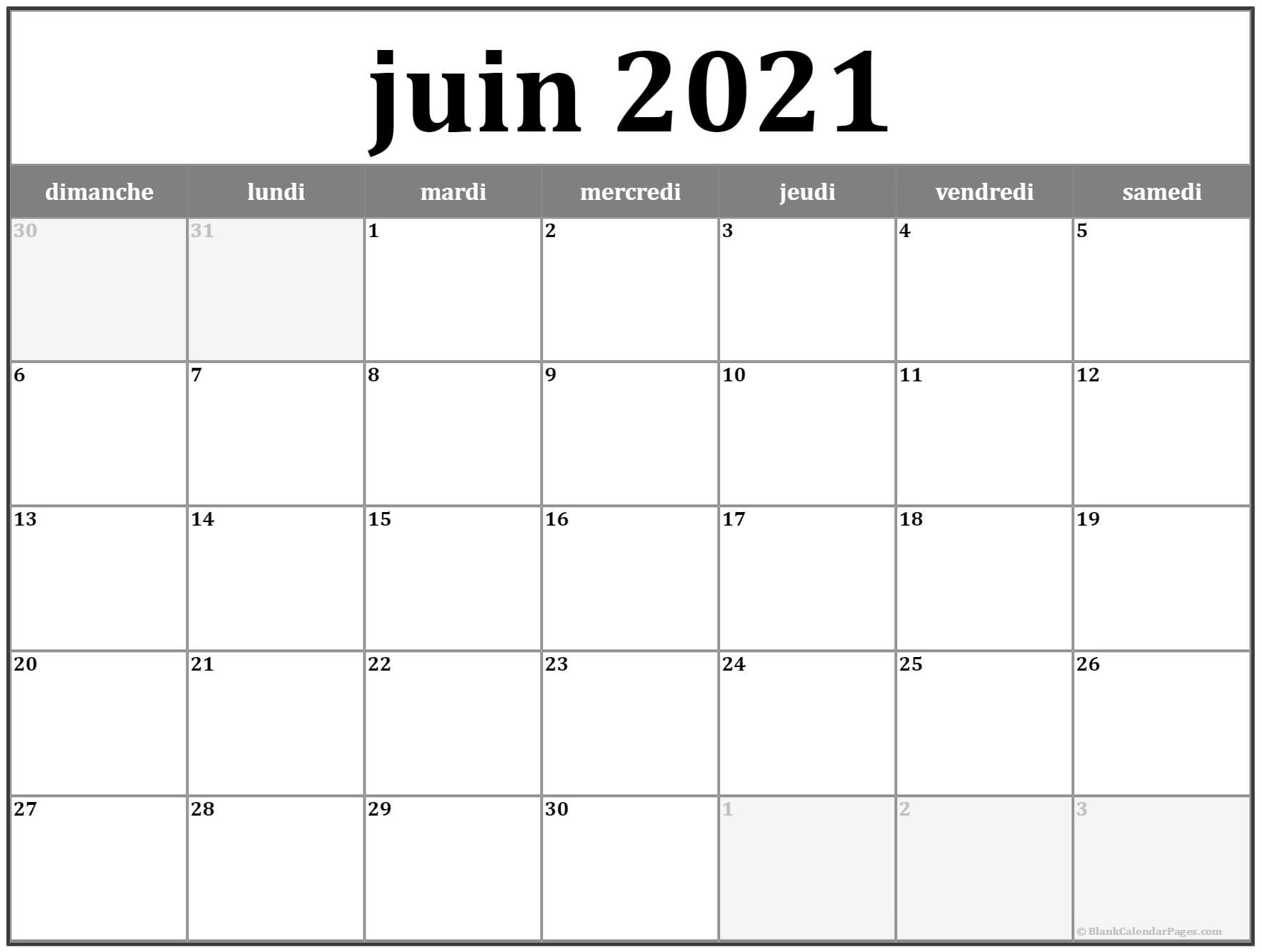 juin 2020 calendrier imprimable