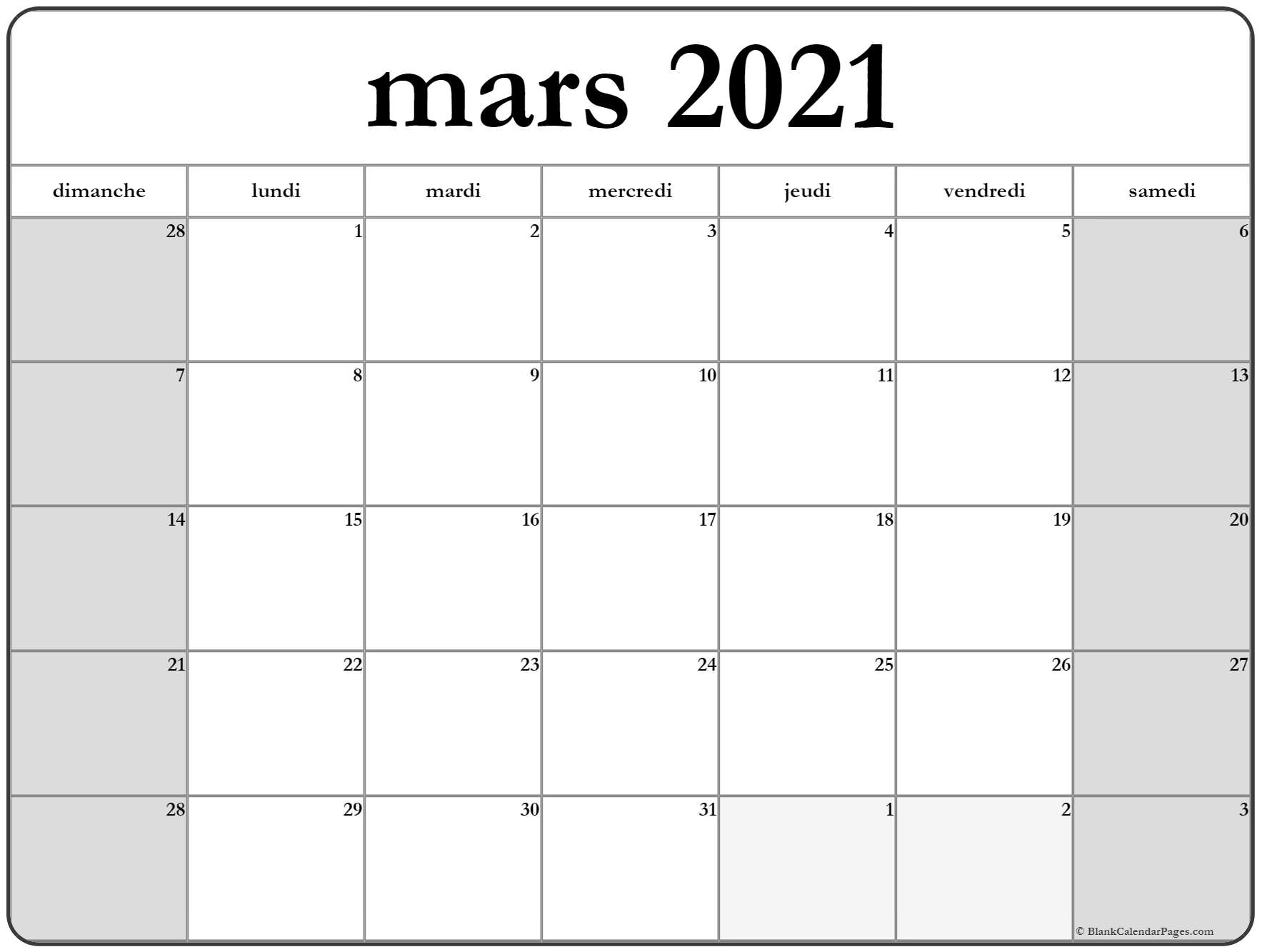 mars 2018 calendrier imprimable