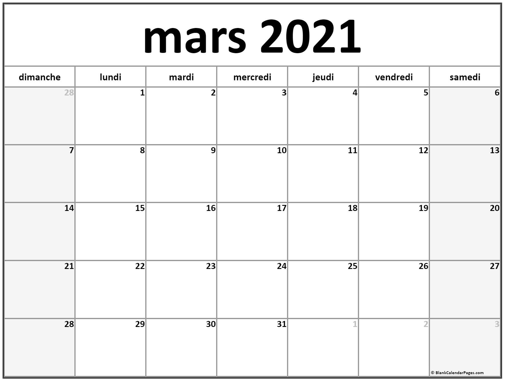 mars 2020 calendrier imprimable
