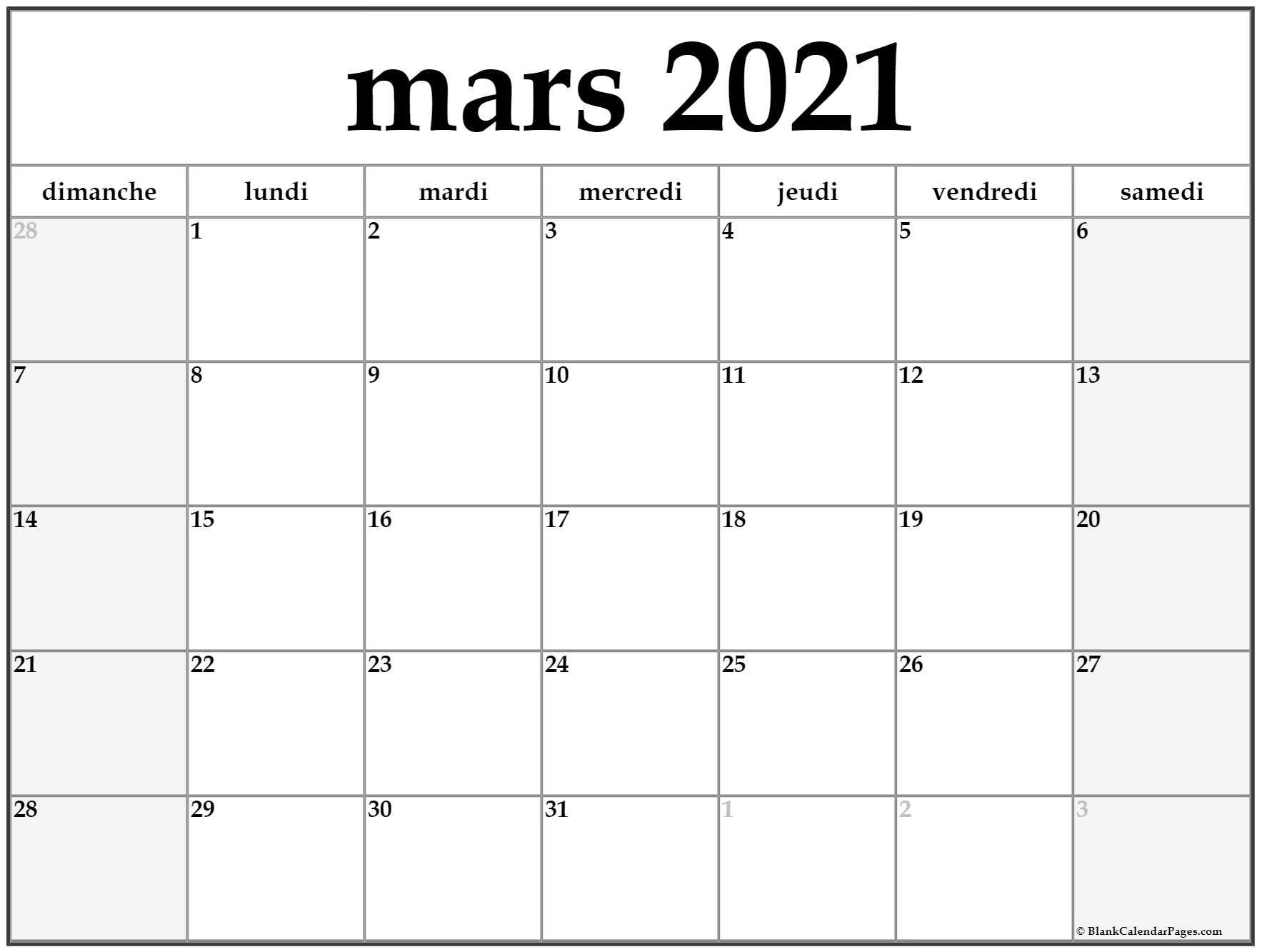 mars 2019 calendrier imprimable