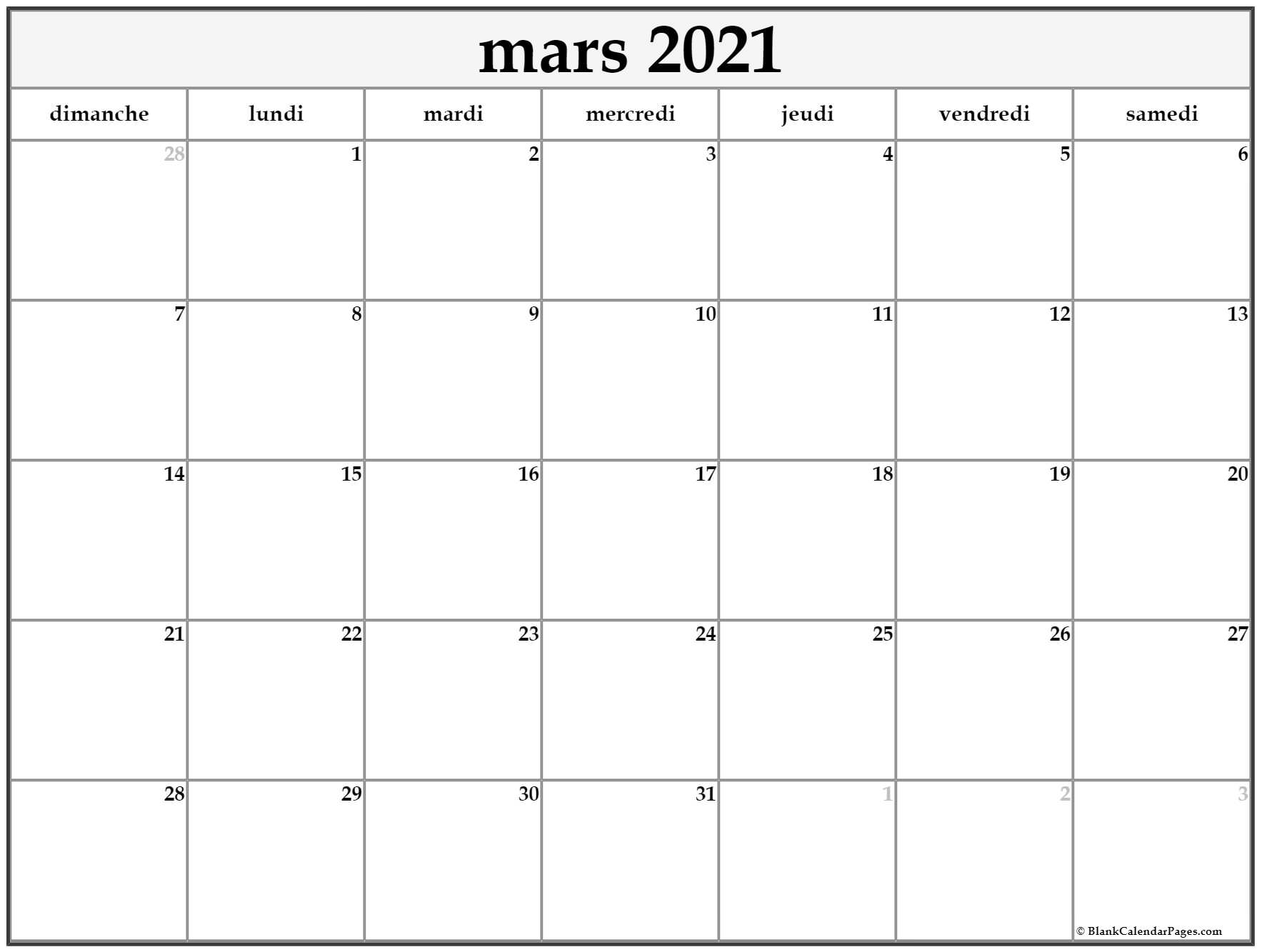 mars 2021 calendrier imprimable