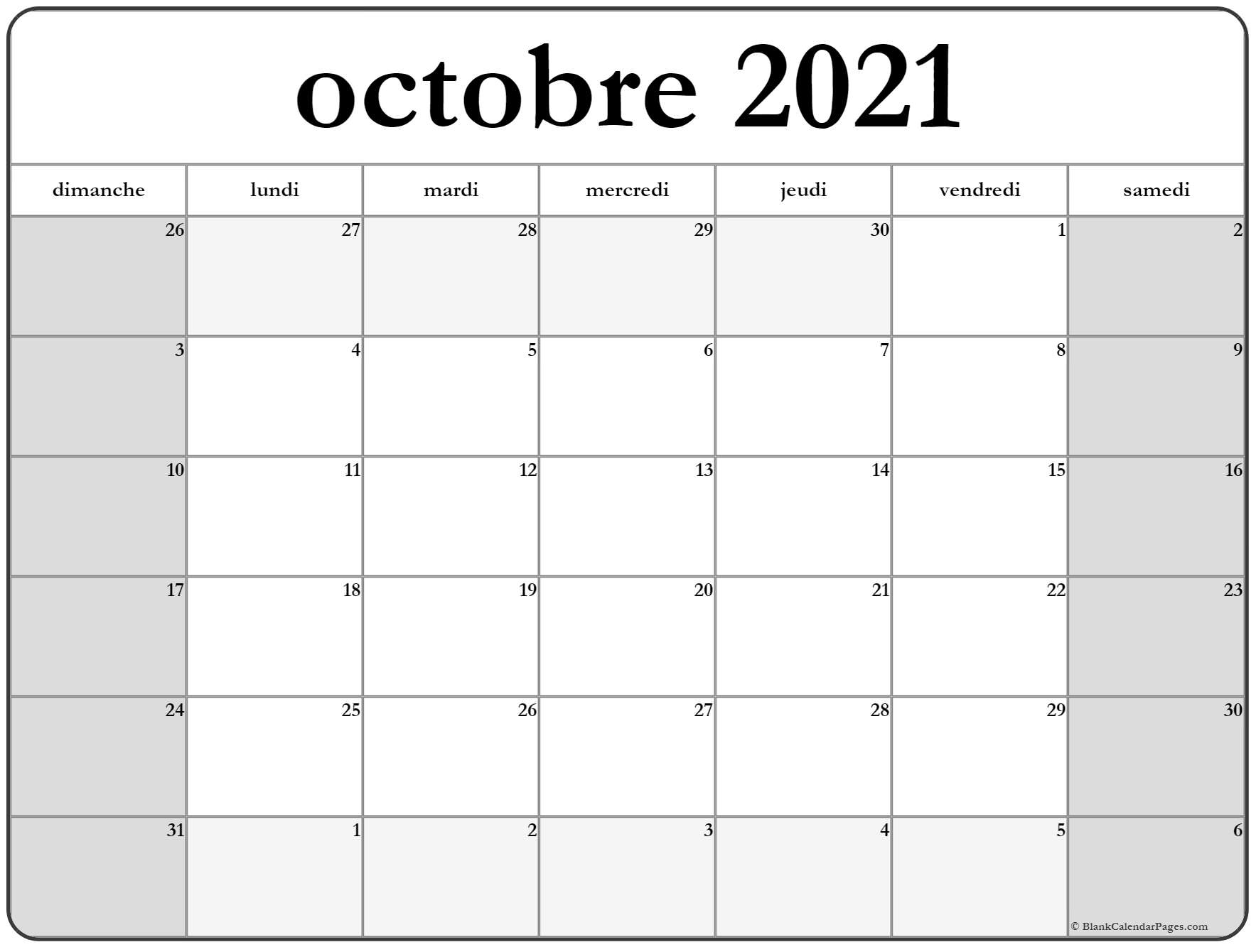 octobre 2019 calendrier imprimable