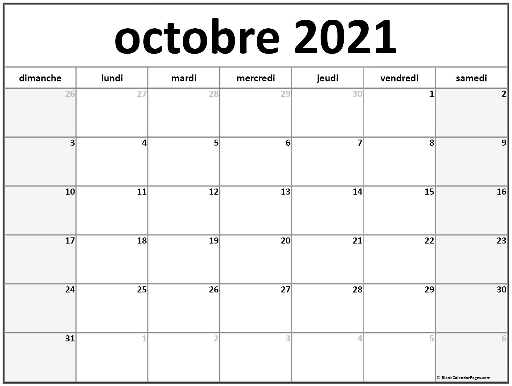 octobre 2021 calendrier imprimable