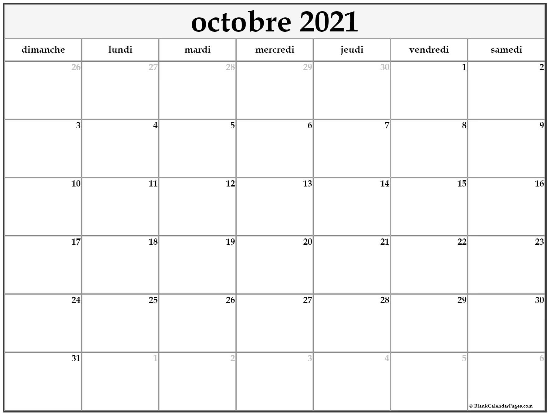 octobre 2018 calendrier imprimable