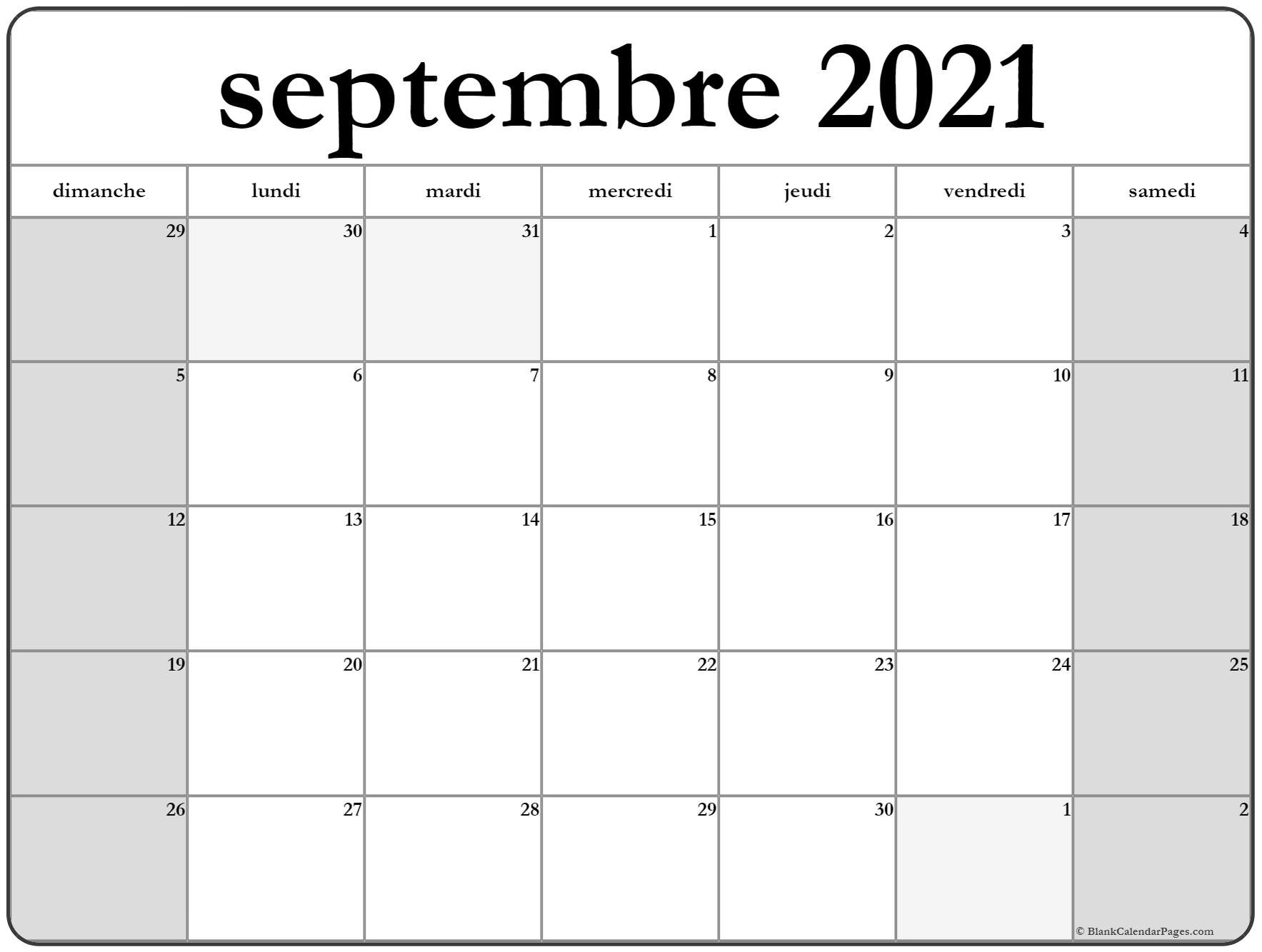 septembre 2021 calendrier imprimable