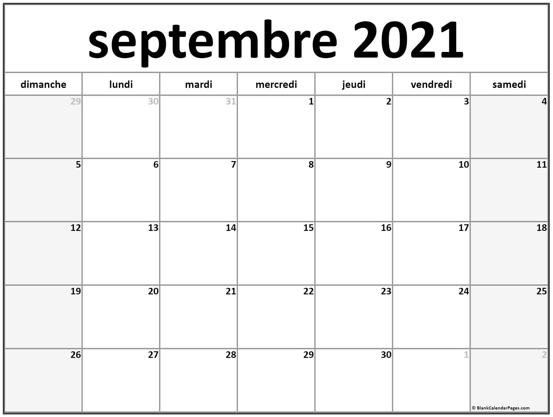 septembre 2019 calendrier imprimable