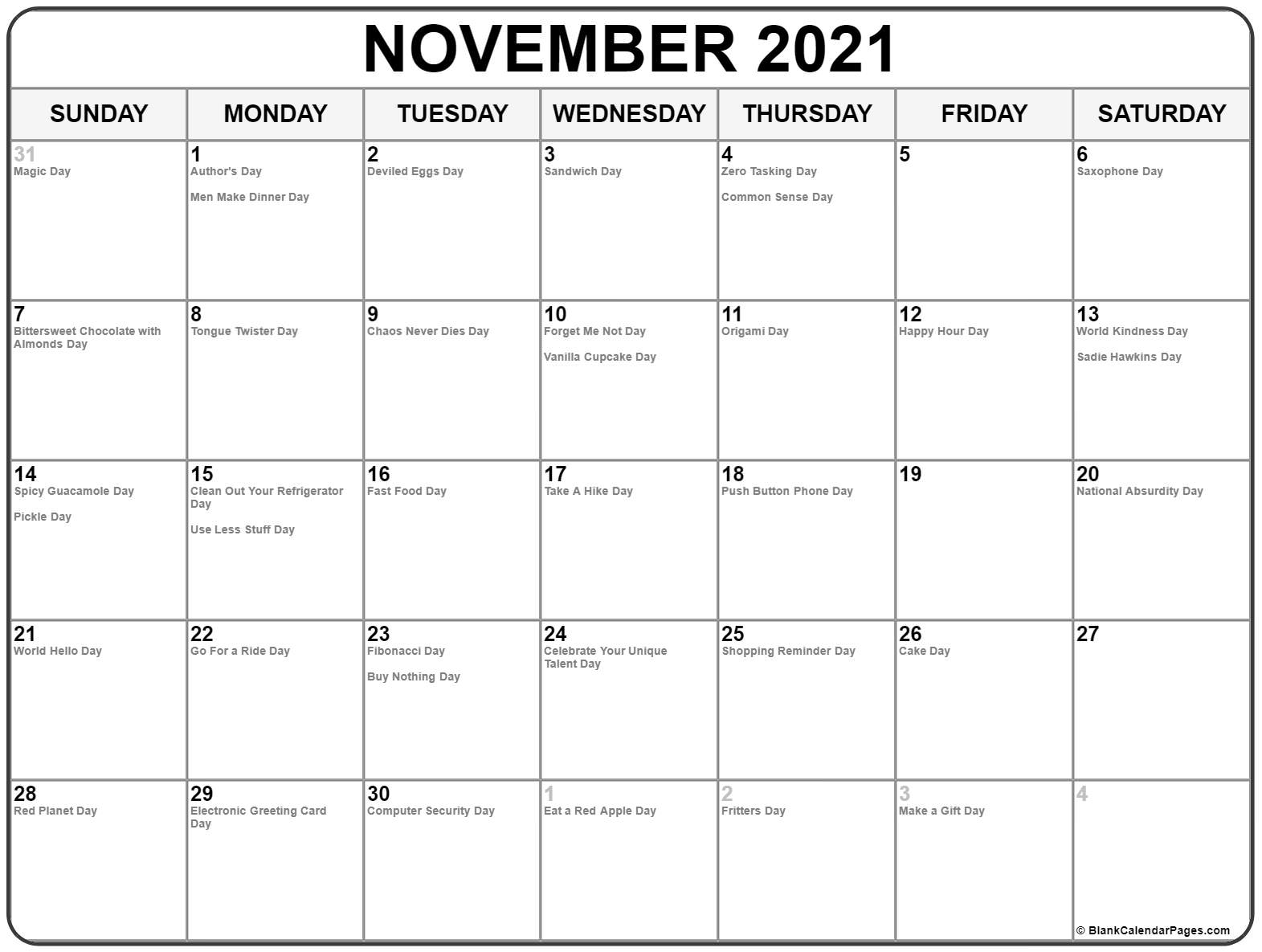 November 2018 whacky holidays calendar