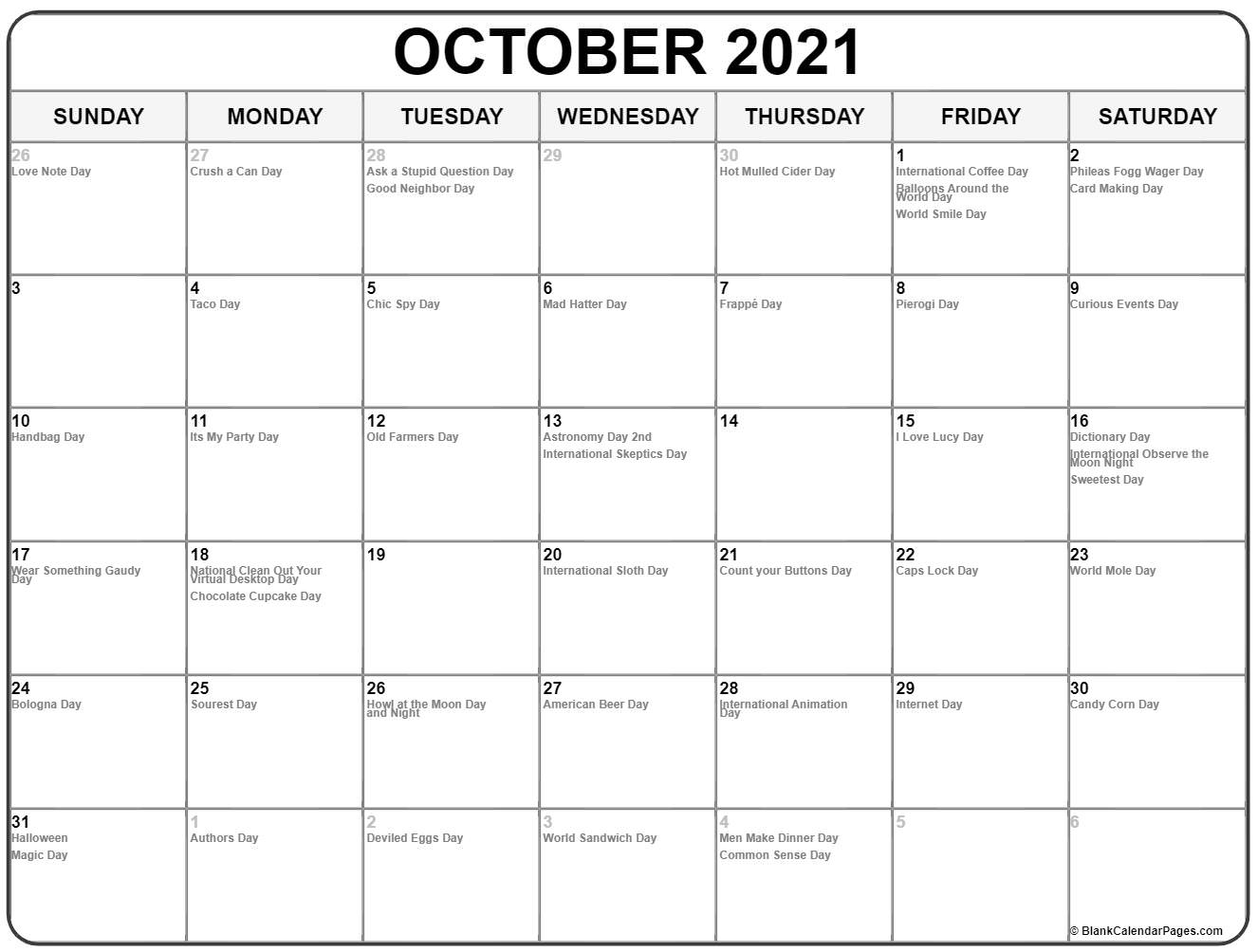 October 2019 whacky holidays calendar