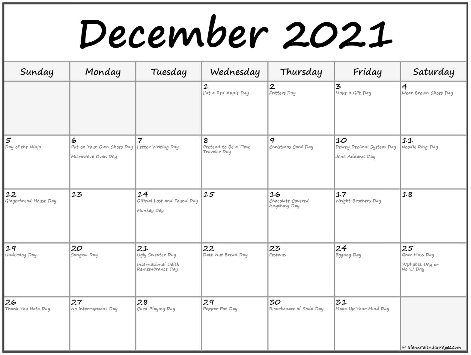 December 2019 calendar with funny holidays