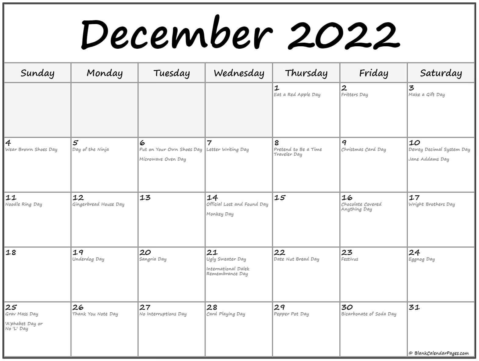 December 2018 calendar with funny holidays