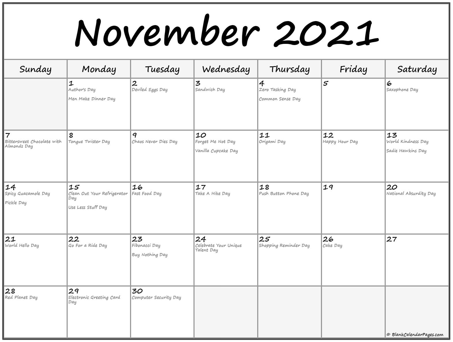 November 2018 funny holidays calendar