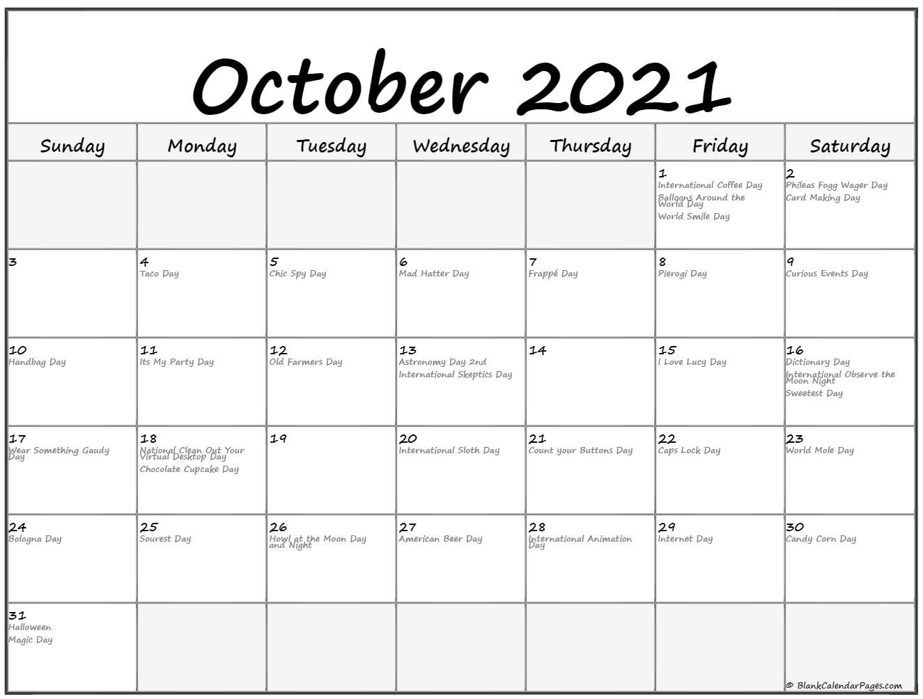 October 2021 calendar with funny holidays