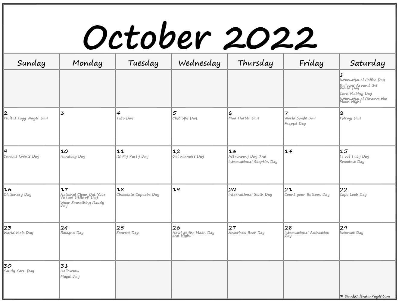 October 2022 calendar with holidays