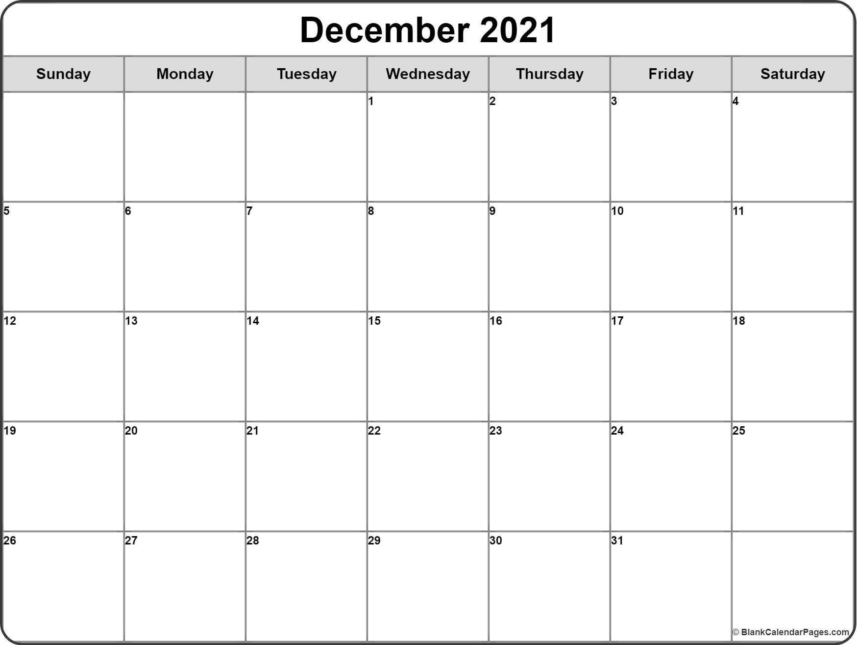 December 2019 monthly calendar template