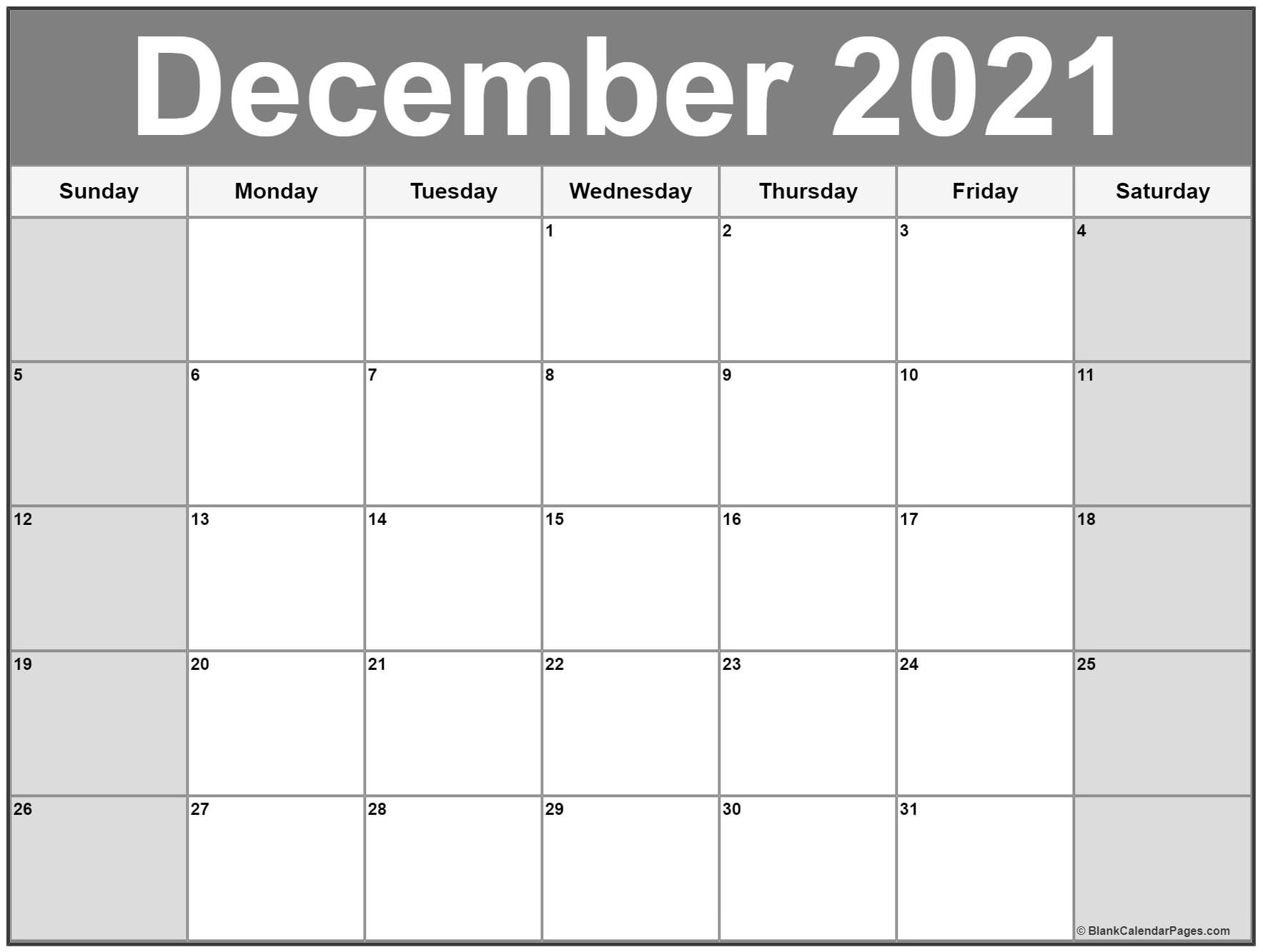 December 2019 Calendar Free Printable Monthly Calendars