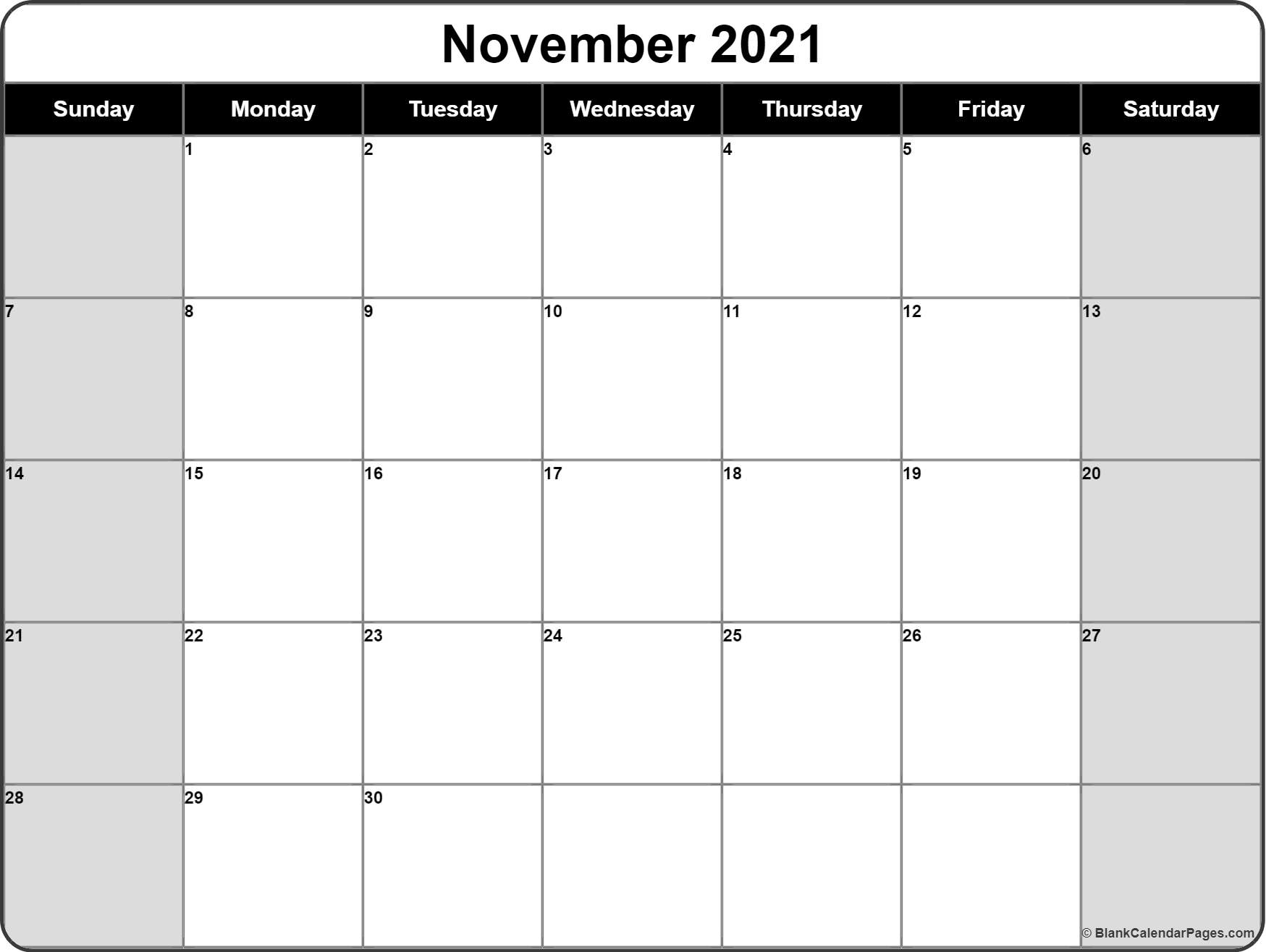November 2018 monthly calendar printable