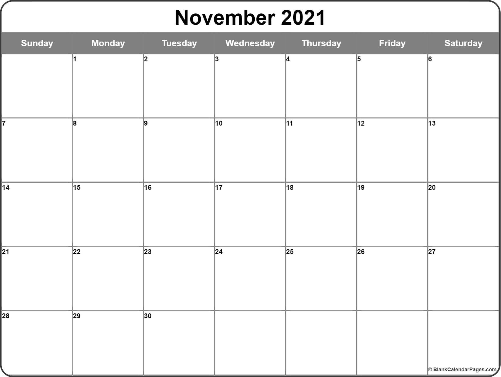 November 2016 calendar template | monthly calendar
