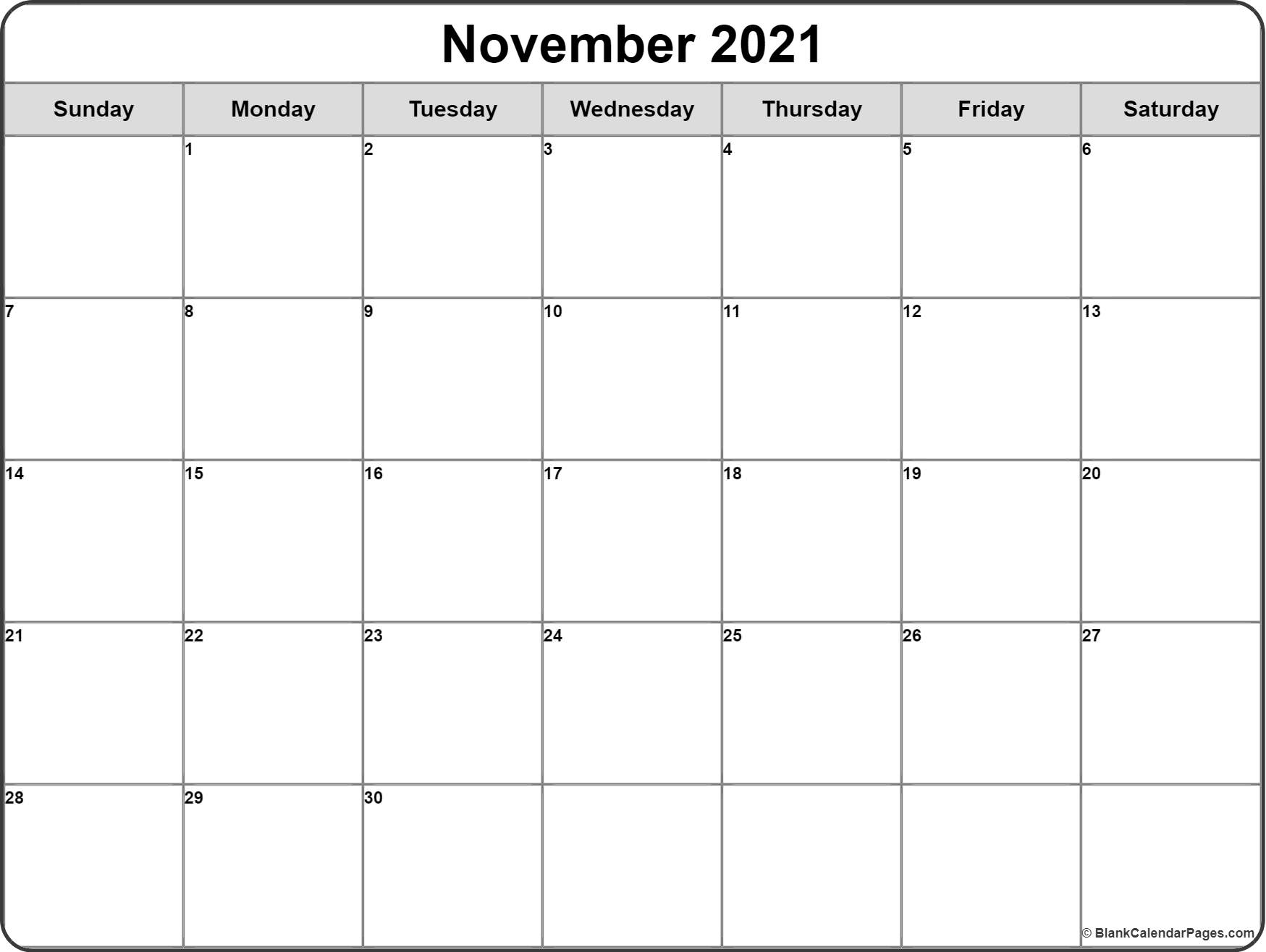 November 2021 monthly calendar template