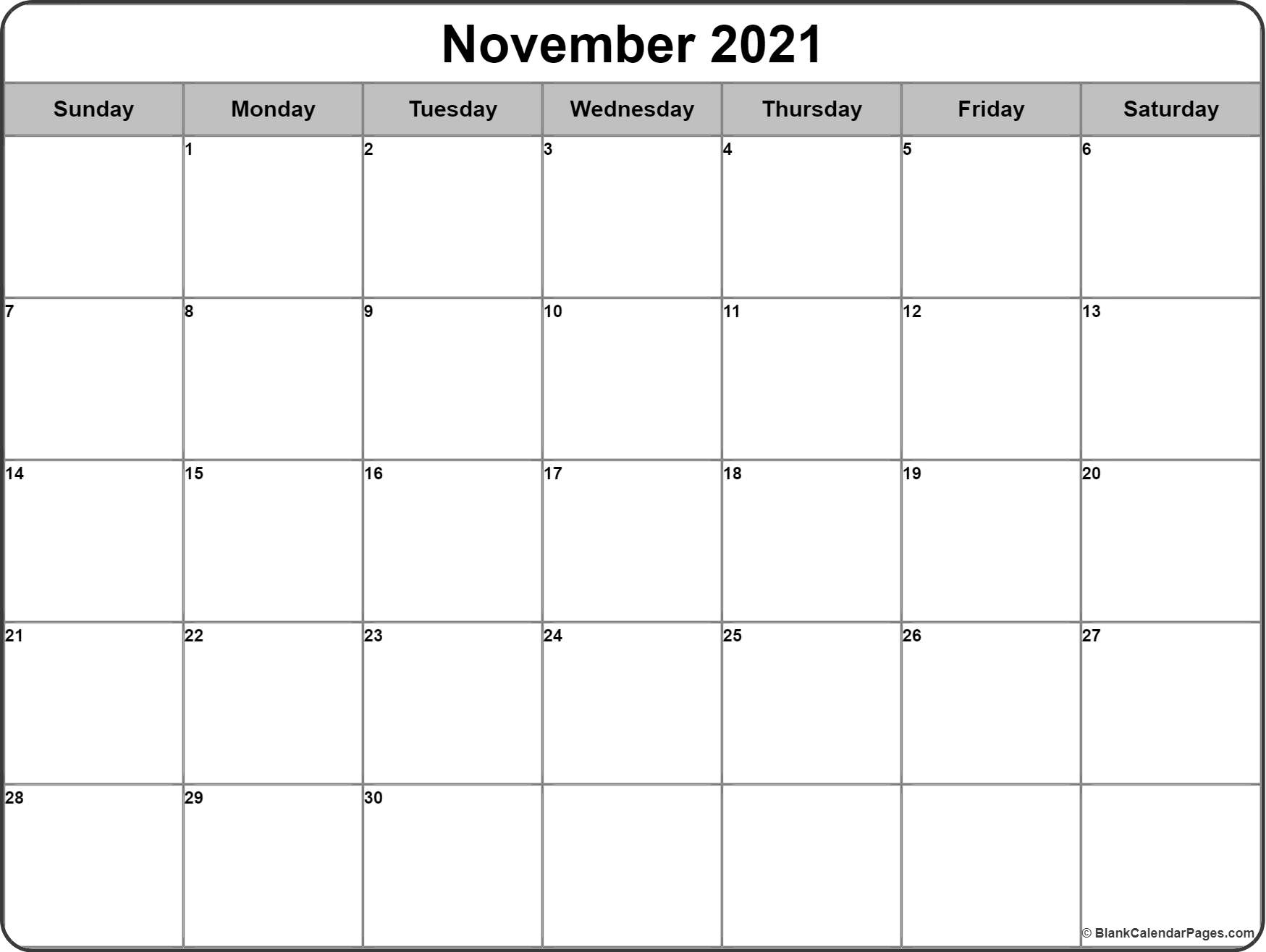 November 2020 monthly calendar printable