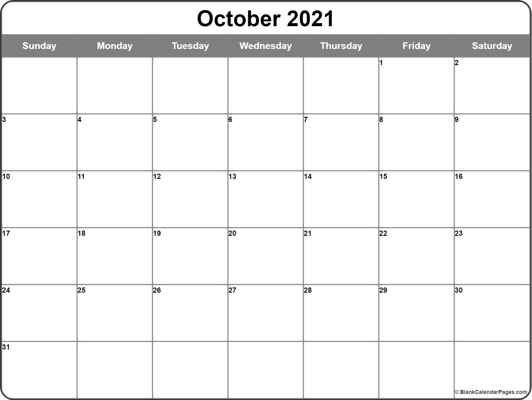 October 2016 printable calendar template