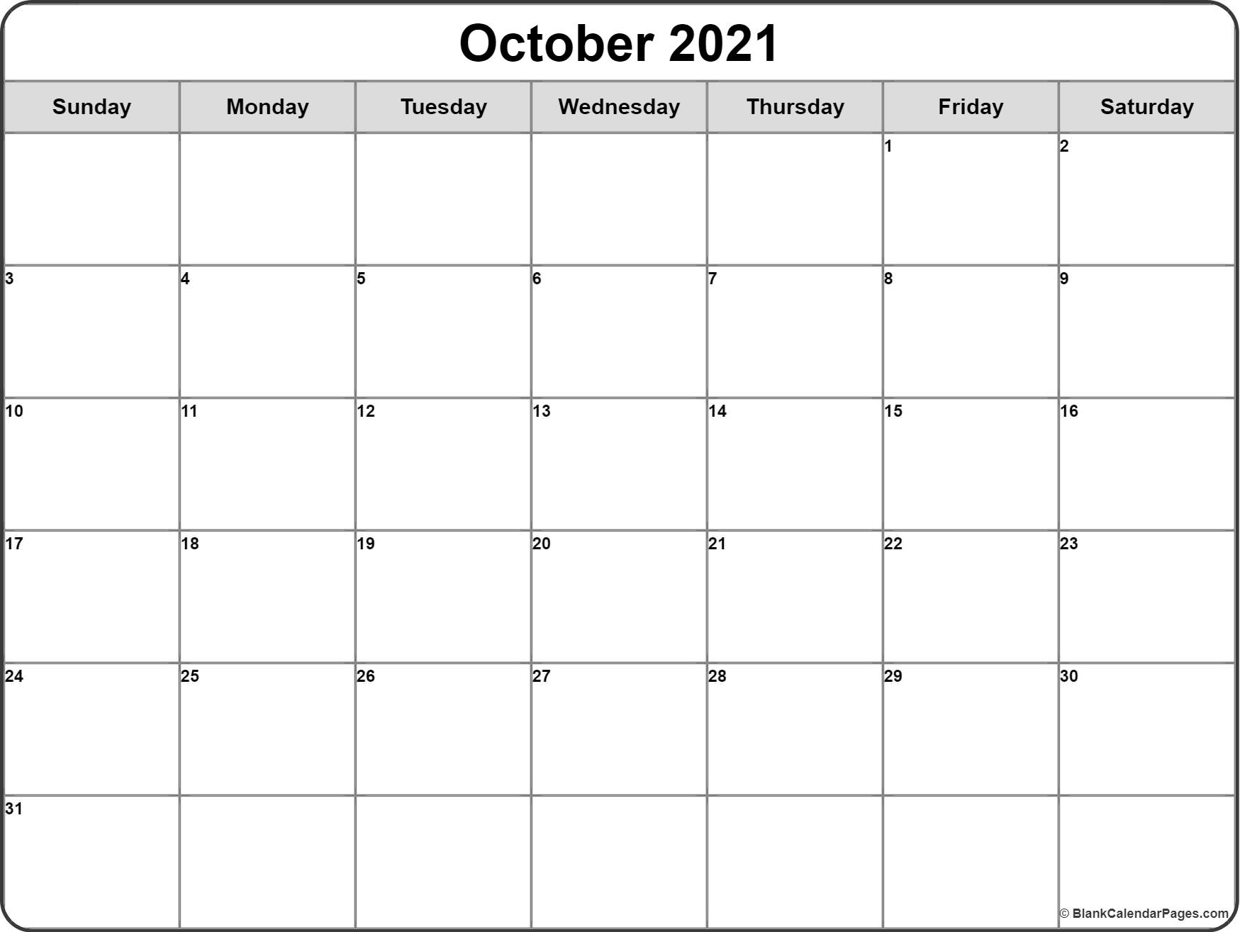 October 2016 monthly calendar template