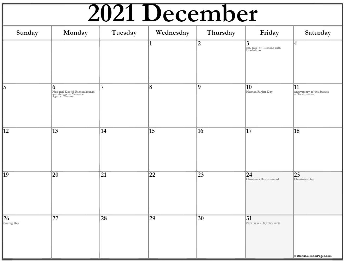 Collection Of December 2019 Calendars With Holidays