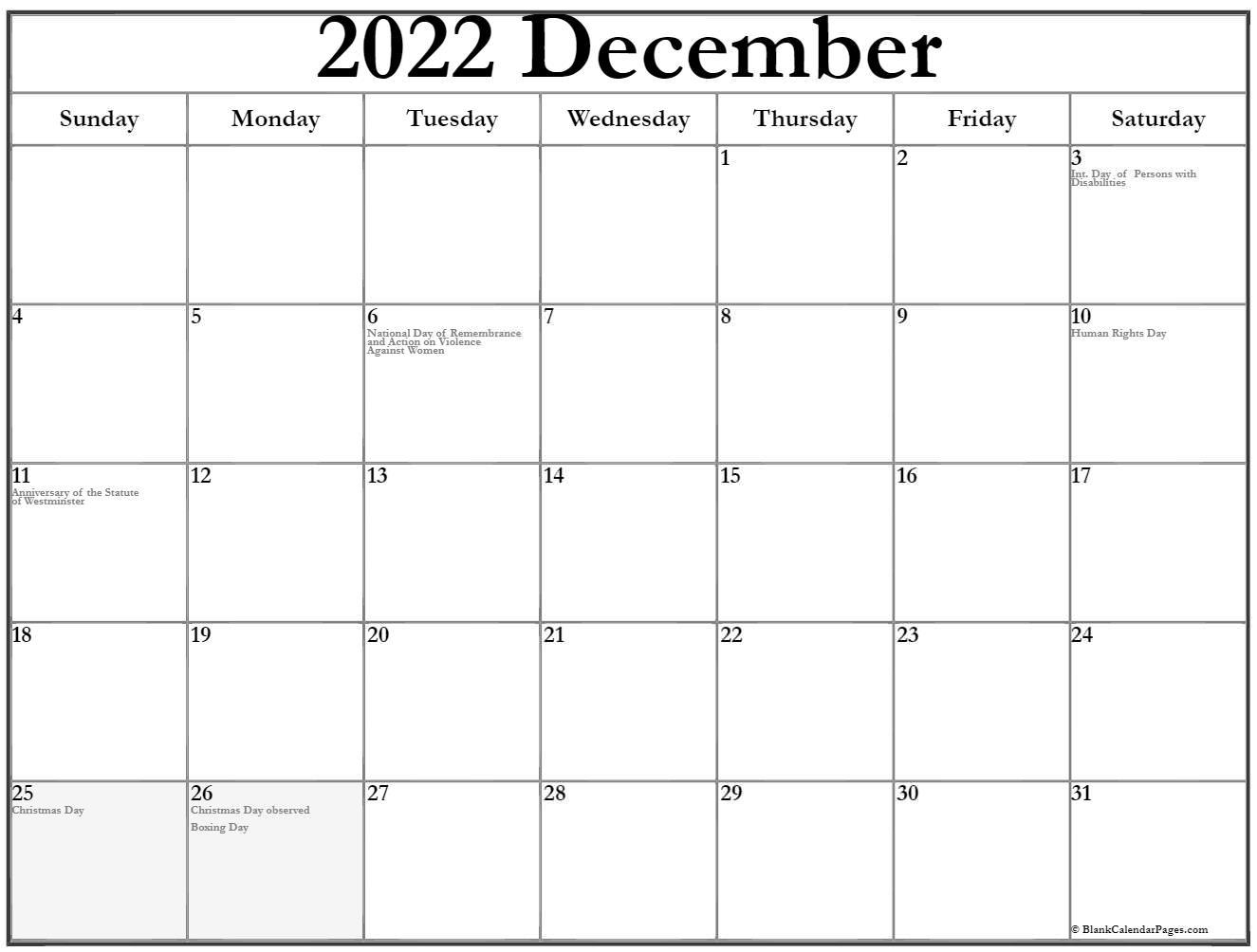 December 2018 Canadian calendar