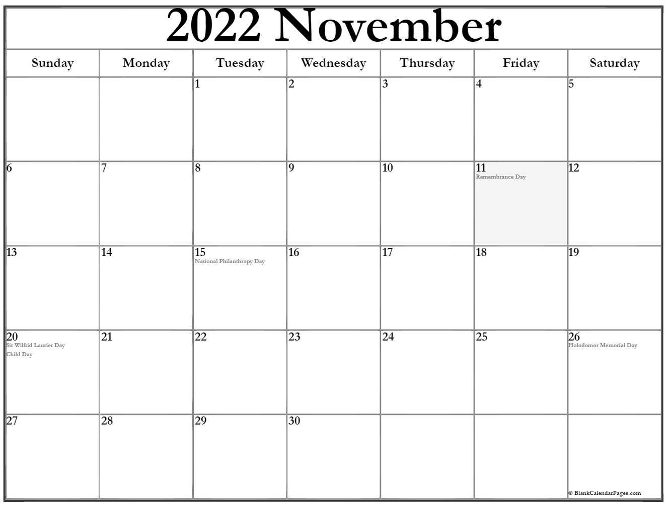 November 2020 Canadian calendar