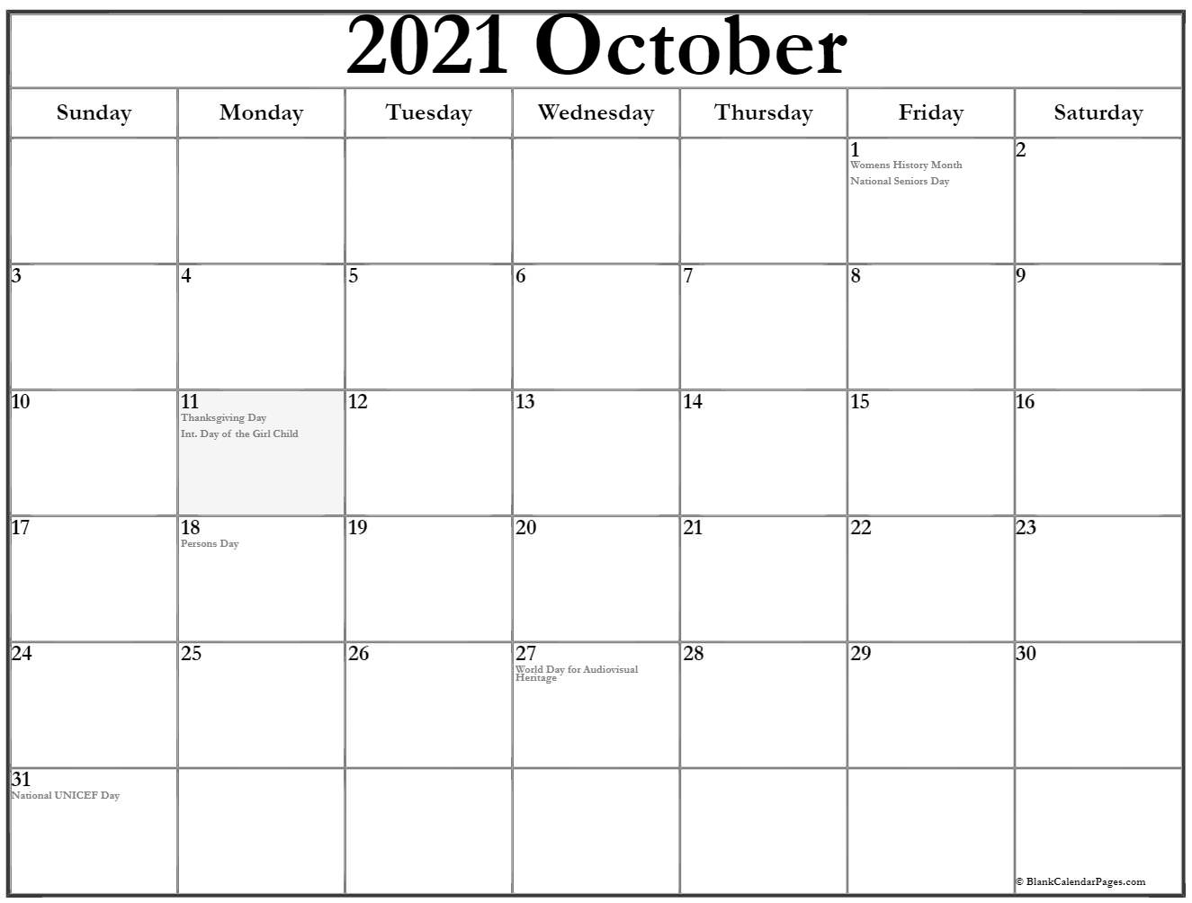 October 2019 Canadian calendar
