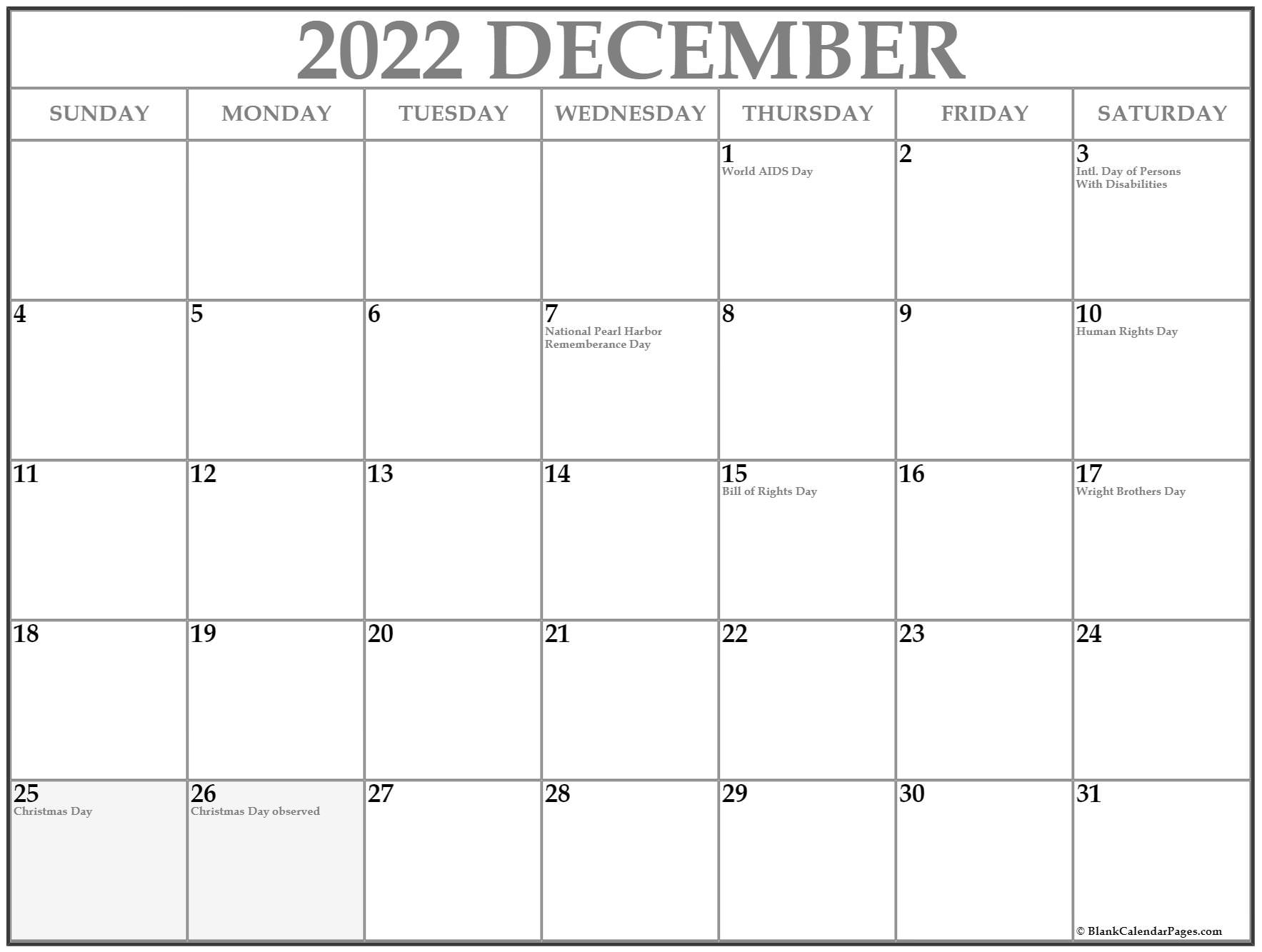 December USA holidays calendar