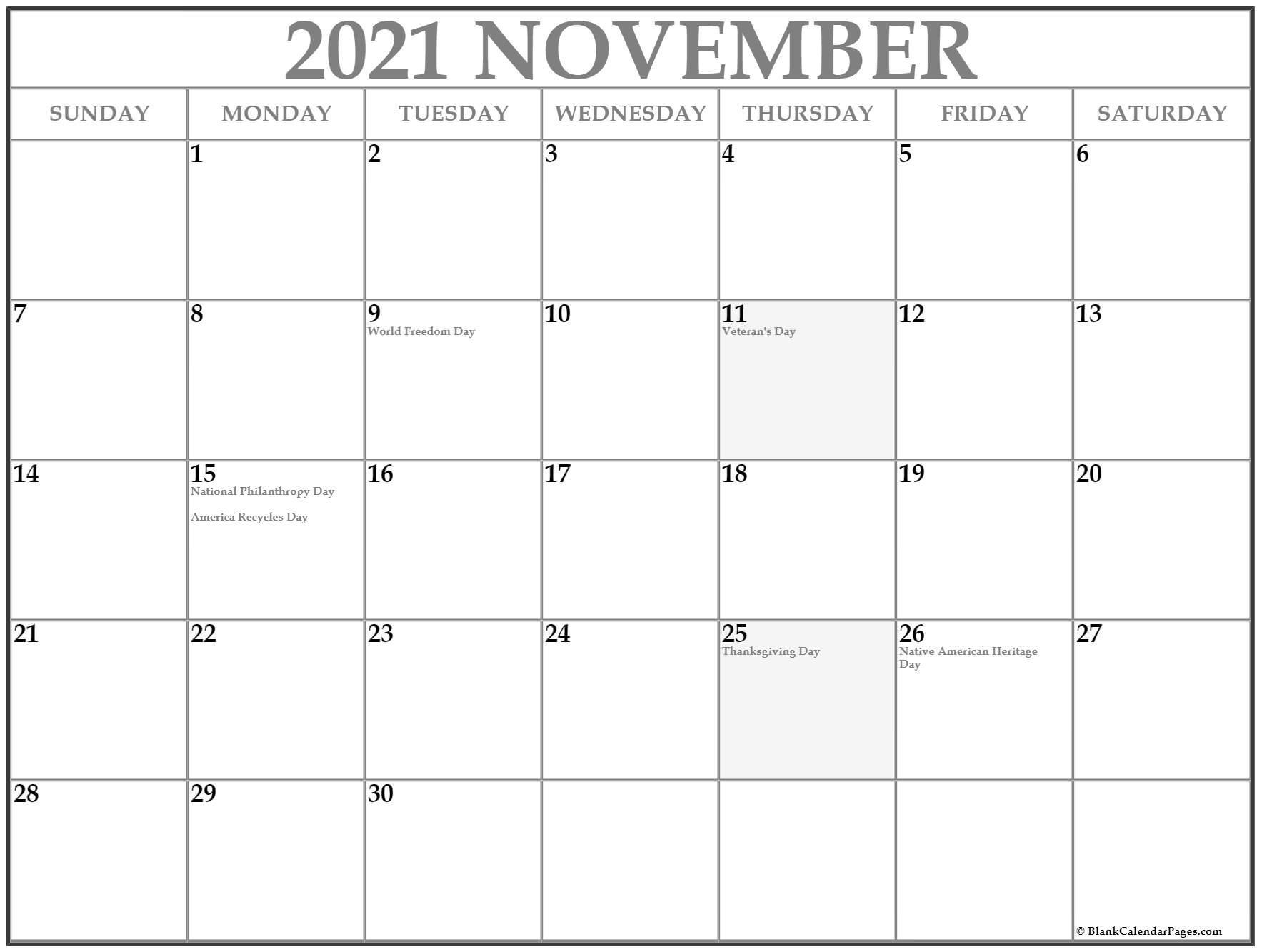 November USA holidays calendar