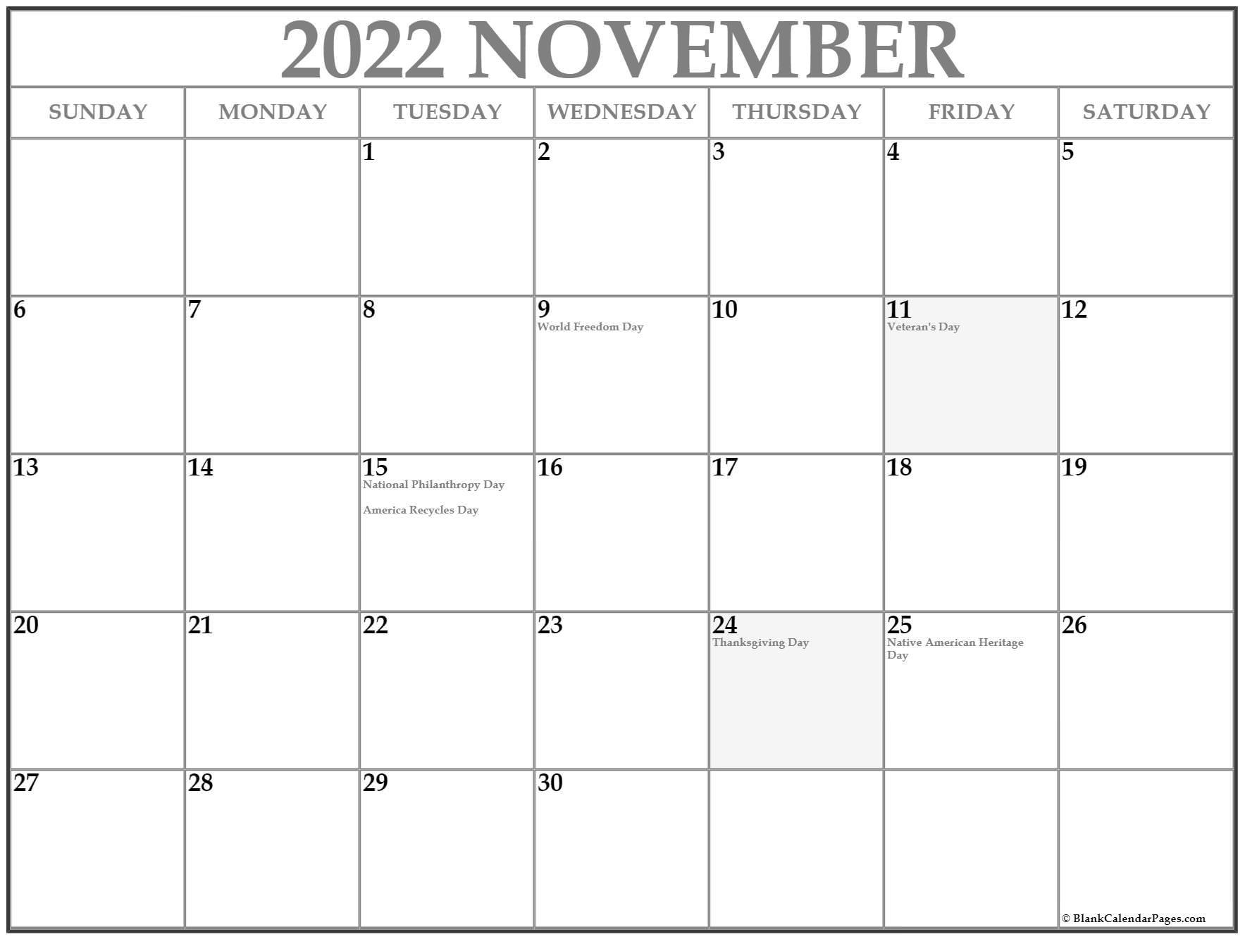 November 2020 Calendar With Holidays Usa Collection of November 2020 calendars with holidays