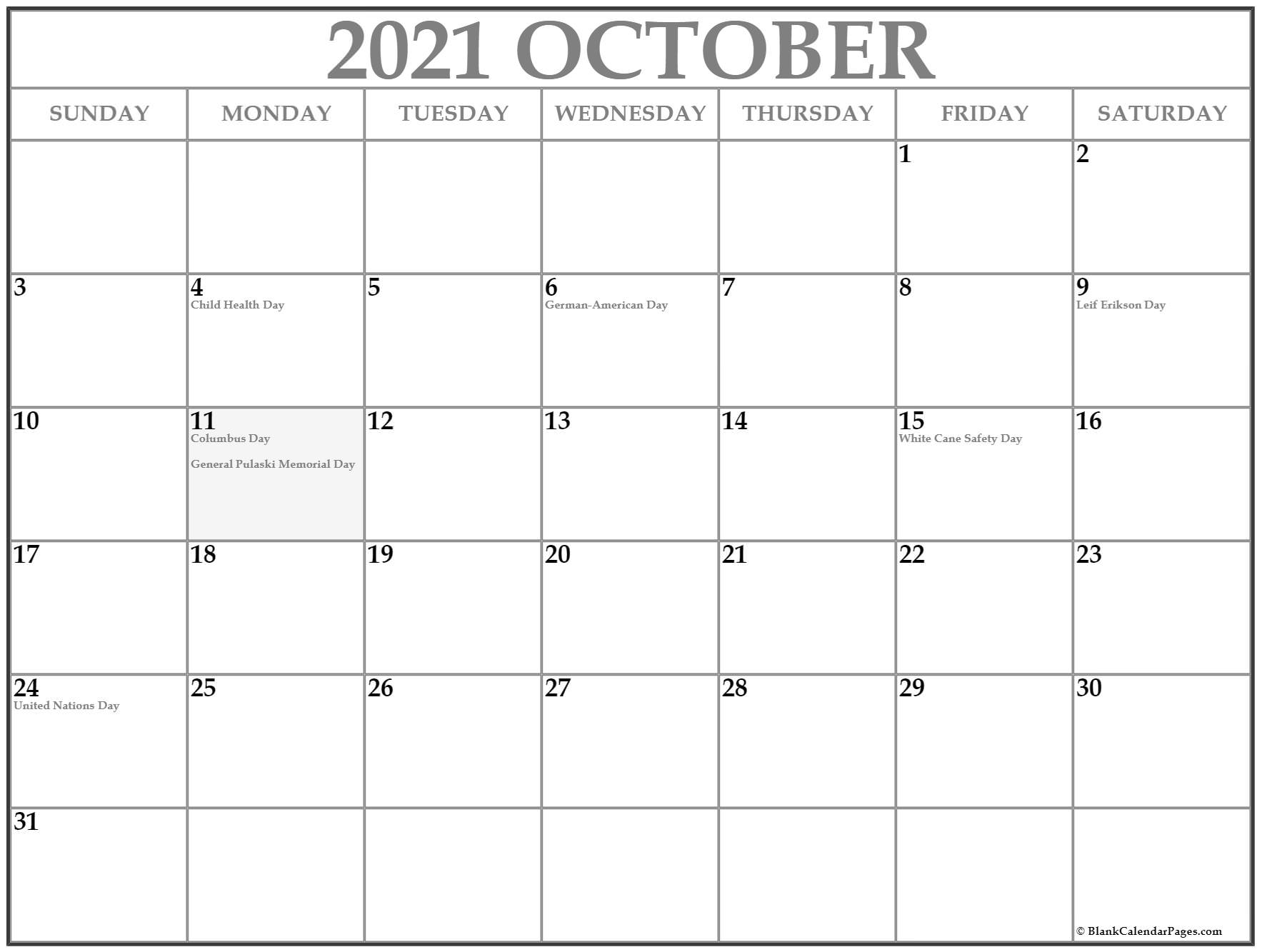 October USA holidays calendar