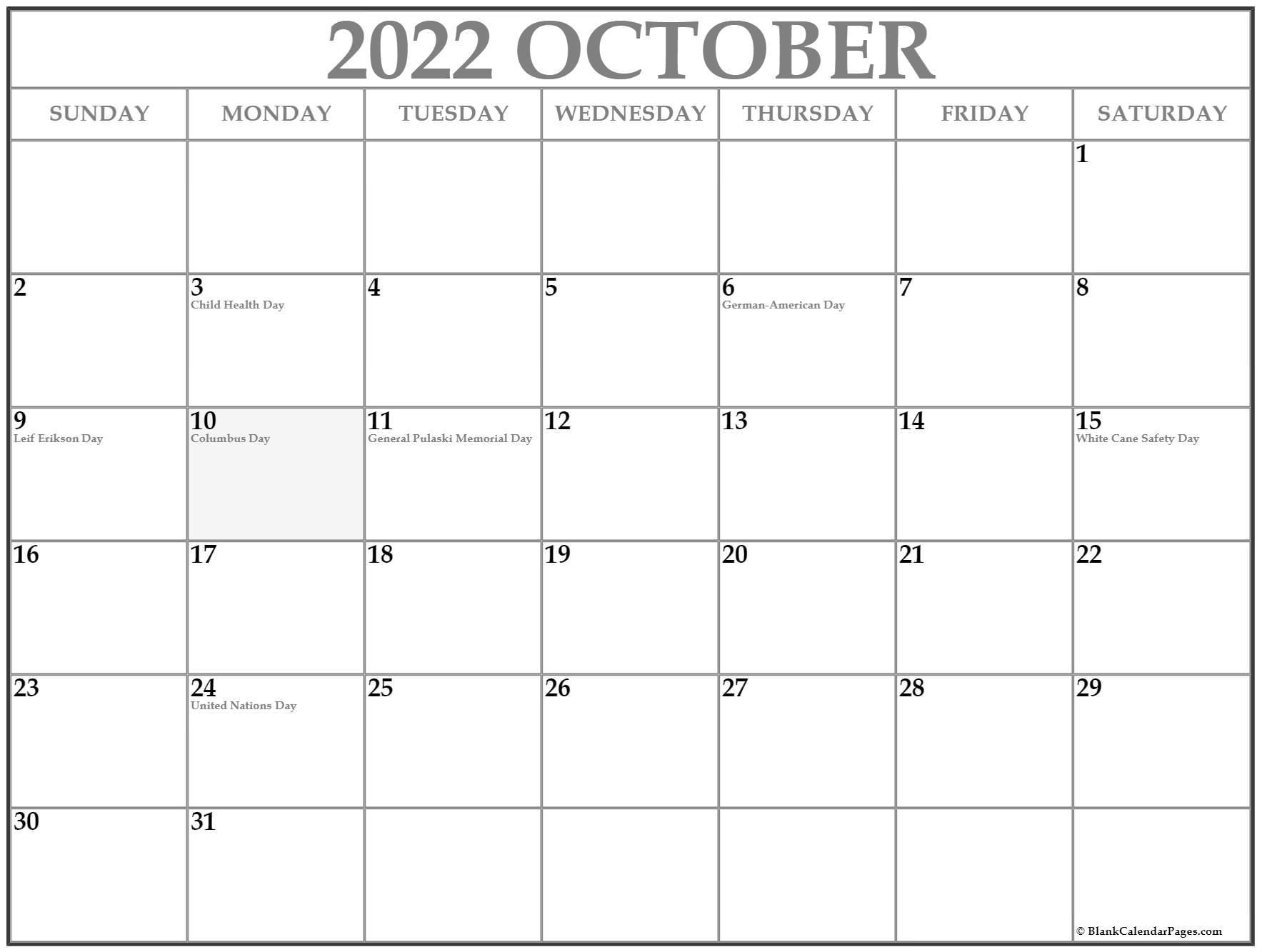 October calendar USA
