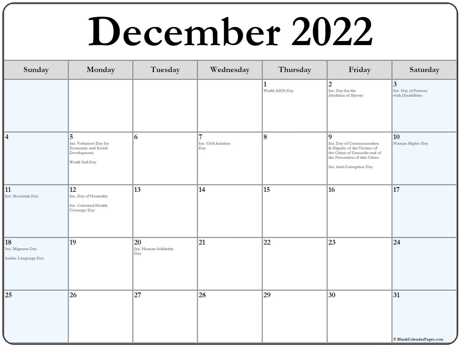 December 2018 calendar with international holidays
