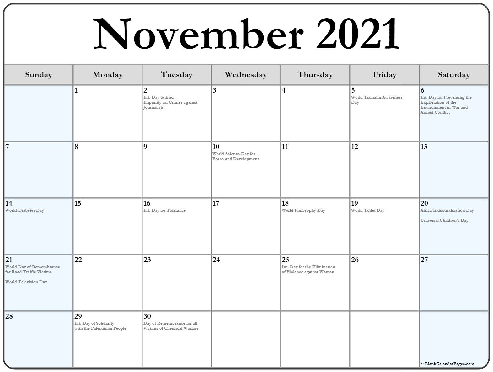 November 2019 with international holidays