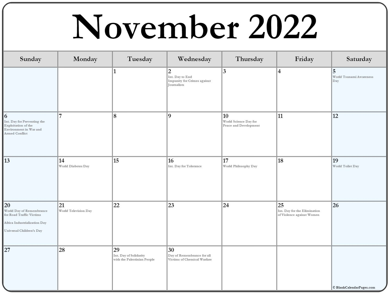 Lego November 2022 Calendar.November 2022 With Holidays Calendar