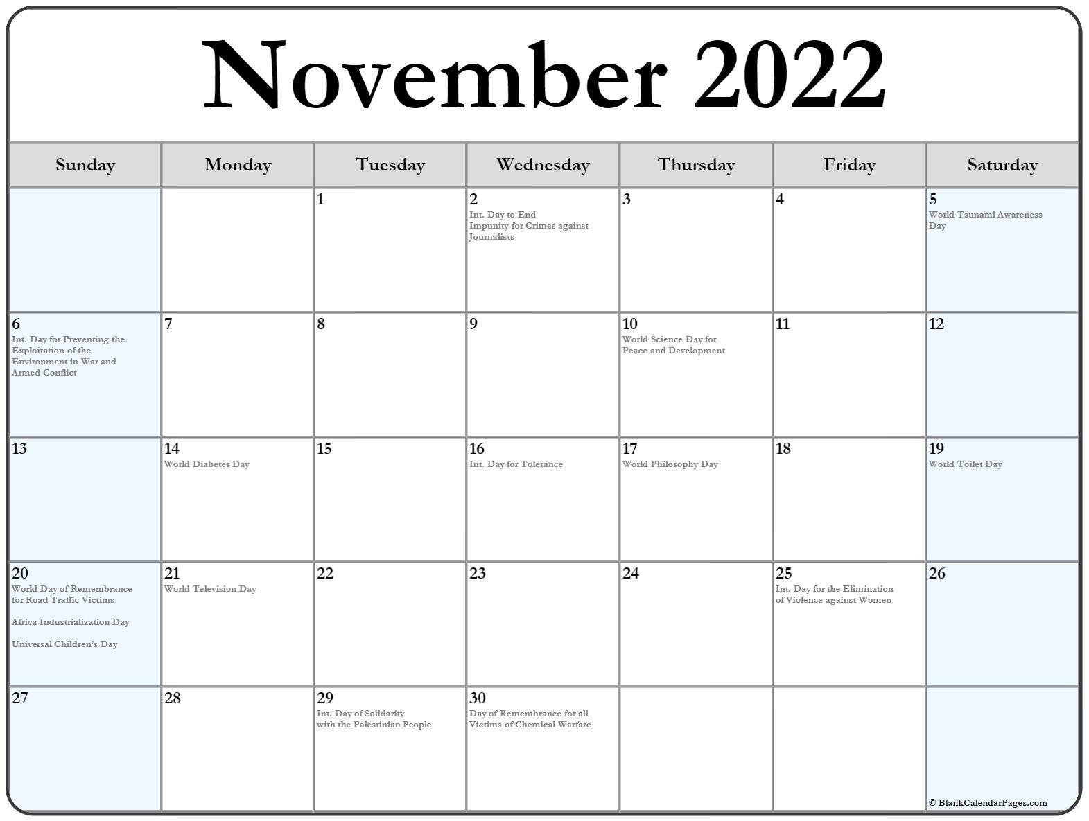 November 2020 with international holidays