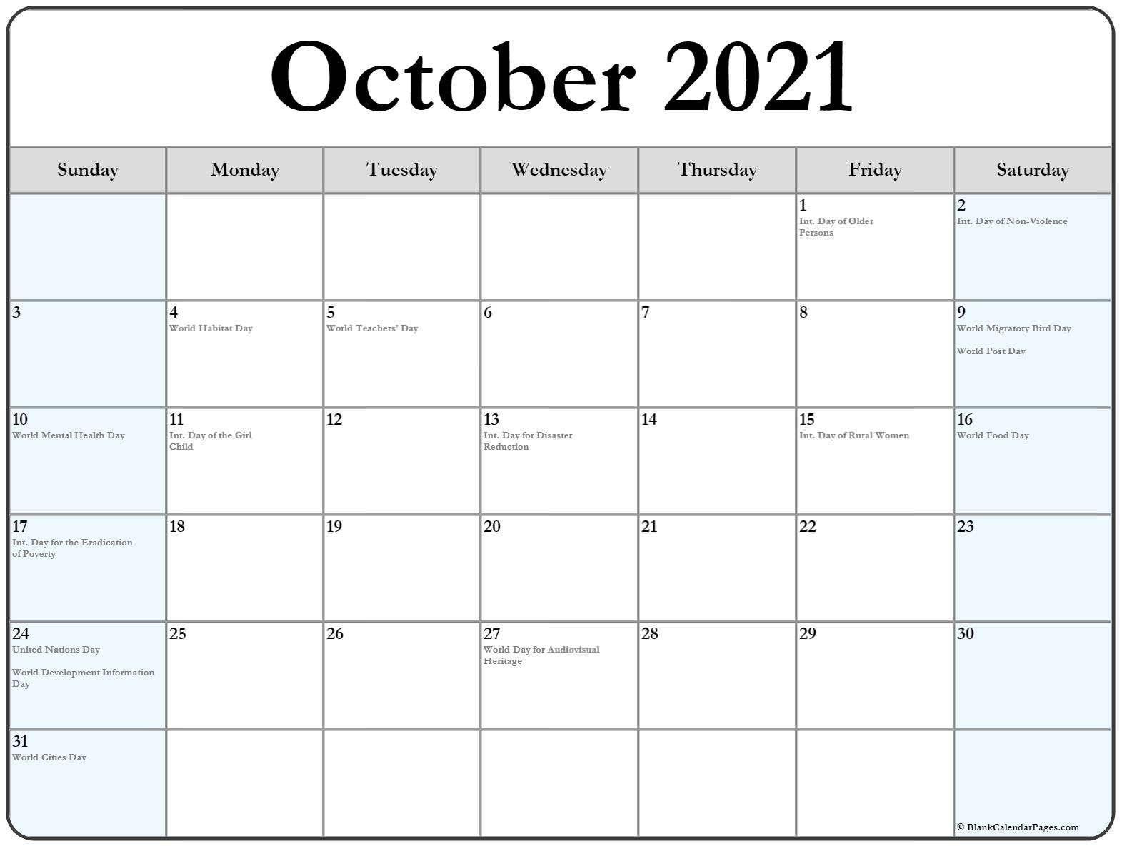 October 2019 with international holidays