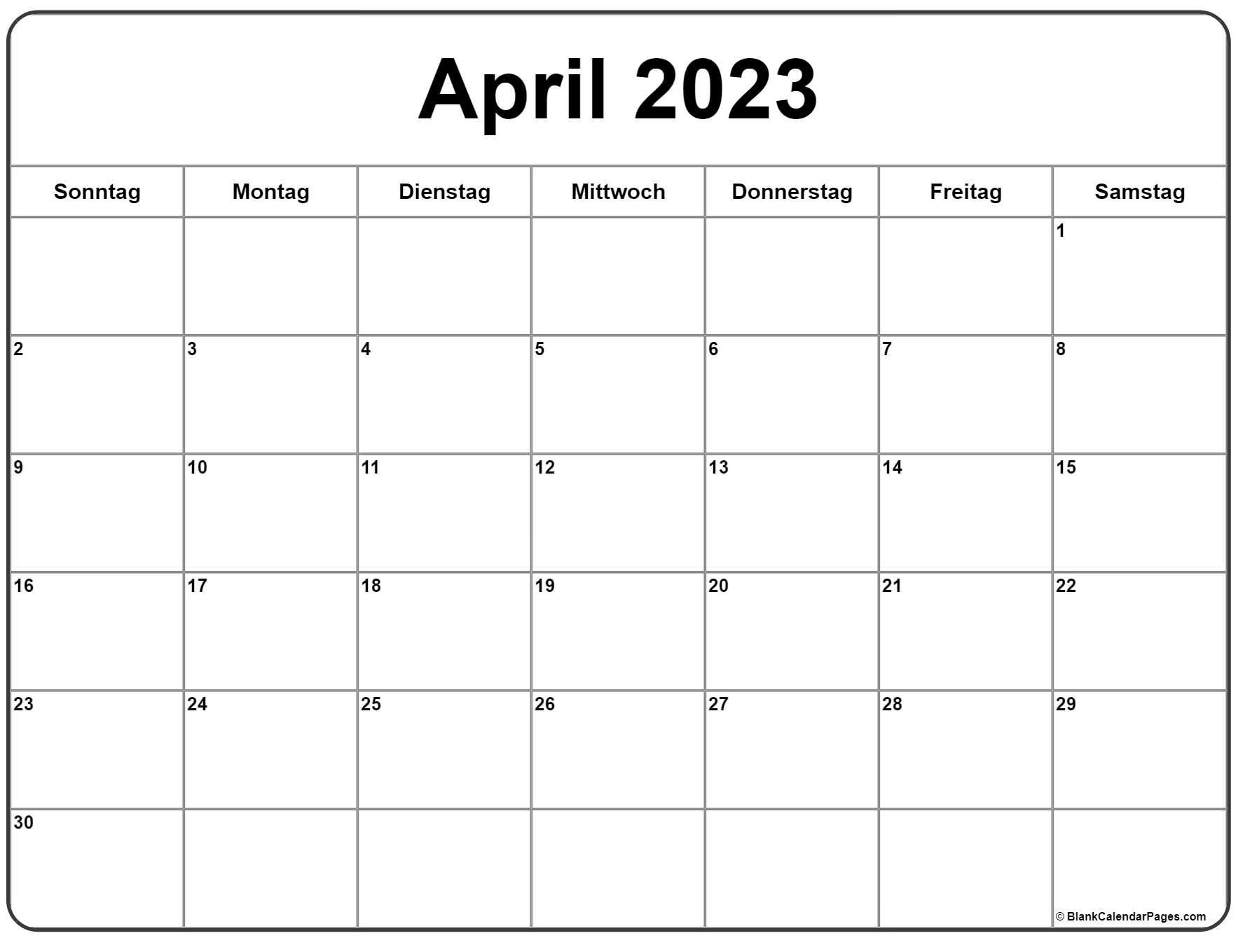 April 2023 kalender