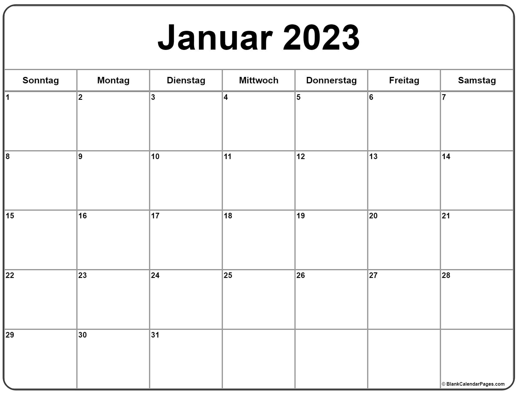 Januar 2023 kalender